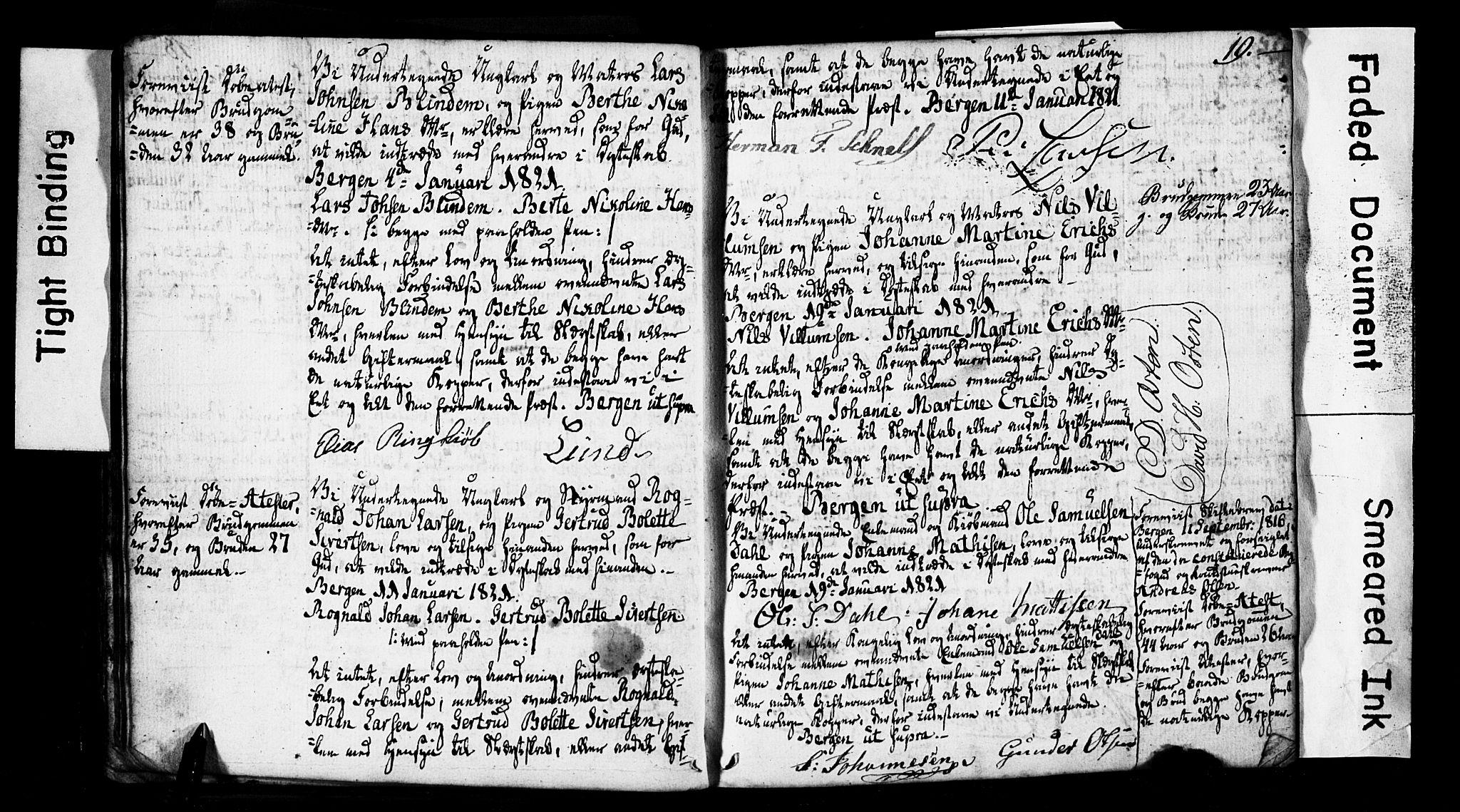 SAB, Domkirken Sokneprestembete, Forlovererklæringer nr. II.5.2, 1820-1832, s. 19