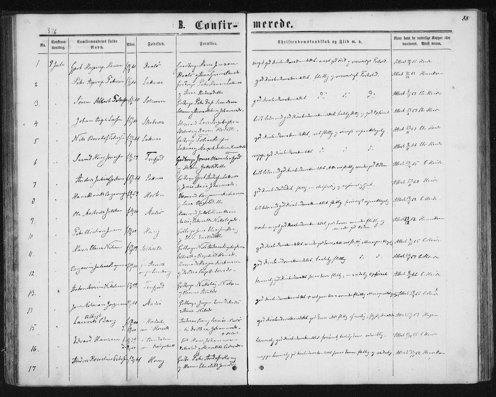 SAT, Ministerialprotokoller, klokkerbøker og fødselsregistre - Nord-Trøndelag, 788/L0696: Ministerialbok nr. 788A03, 1863-1877, s. 88