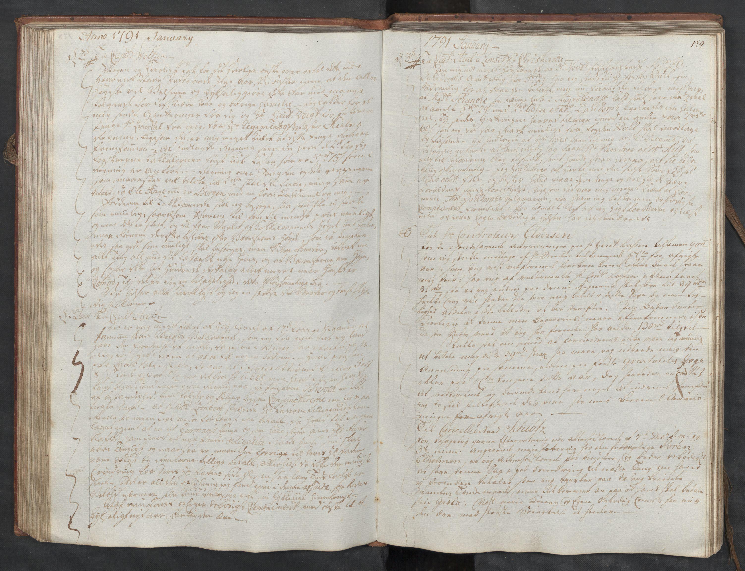 SAST, Pa 0003 - Ploug & Sundt, handelshuset, B/L0006: Kopibok, 1788-1793, s. 128b-129a
