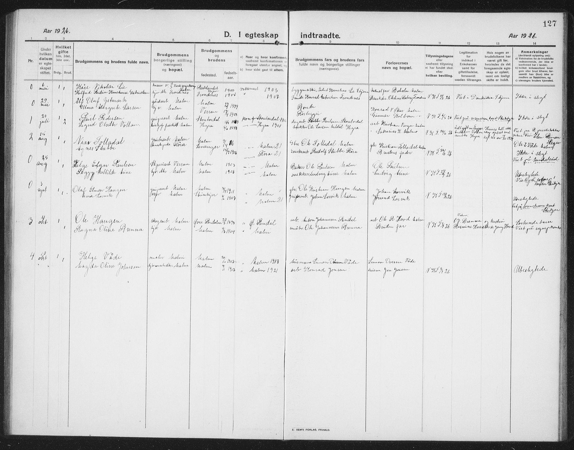 SAT, Ministerialprotokoller, klokkerbøker og fødselsregistre - Nord-Trøndelag, 745/L0434: Klokkerbok nr. 745C03, 1914-1937, s. 127