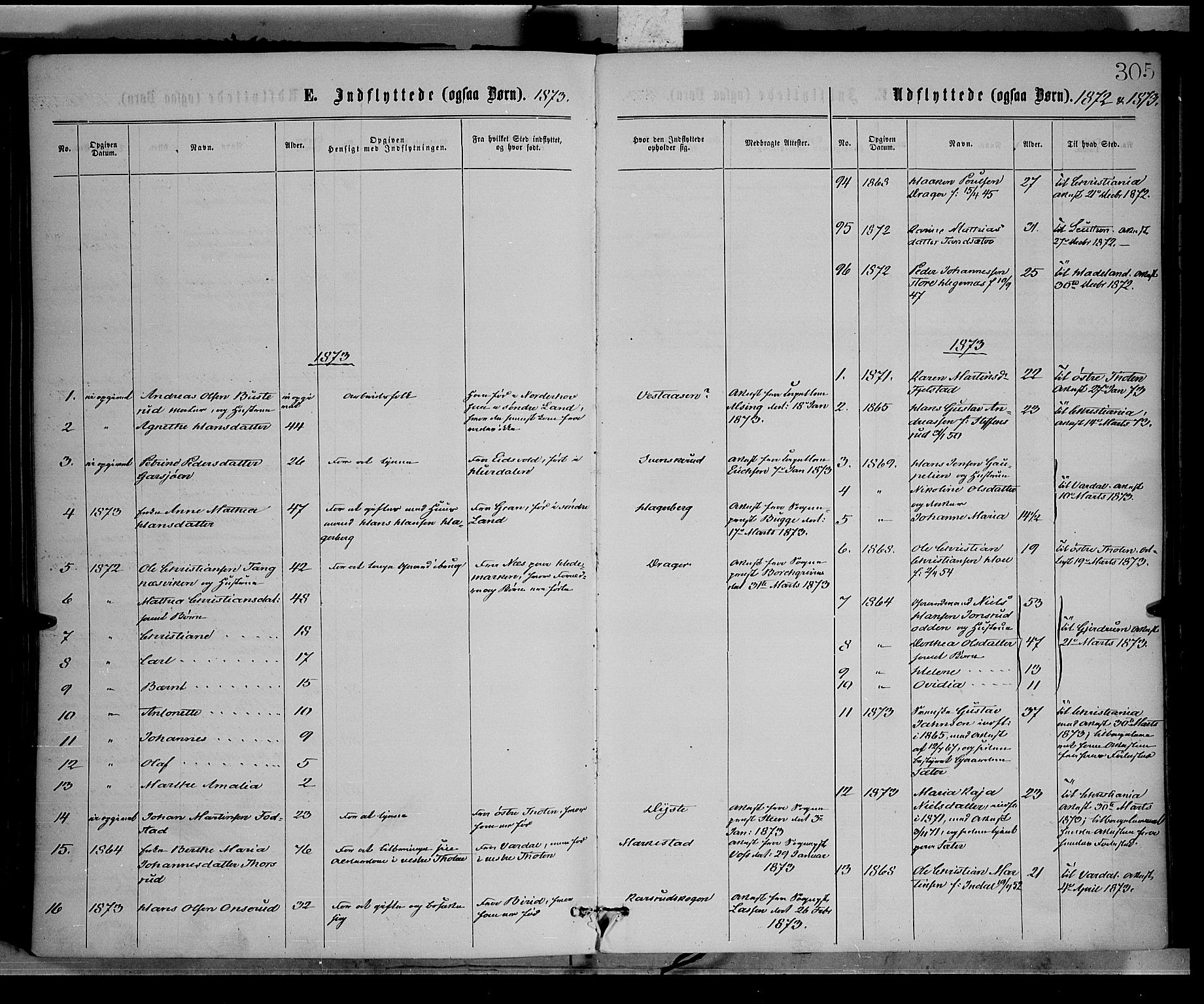SAH, Vestre Toten prestekontor, H/Ha/Haa/L0008: Ministerialbok nr. 8, 1870-1877, s. 305
