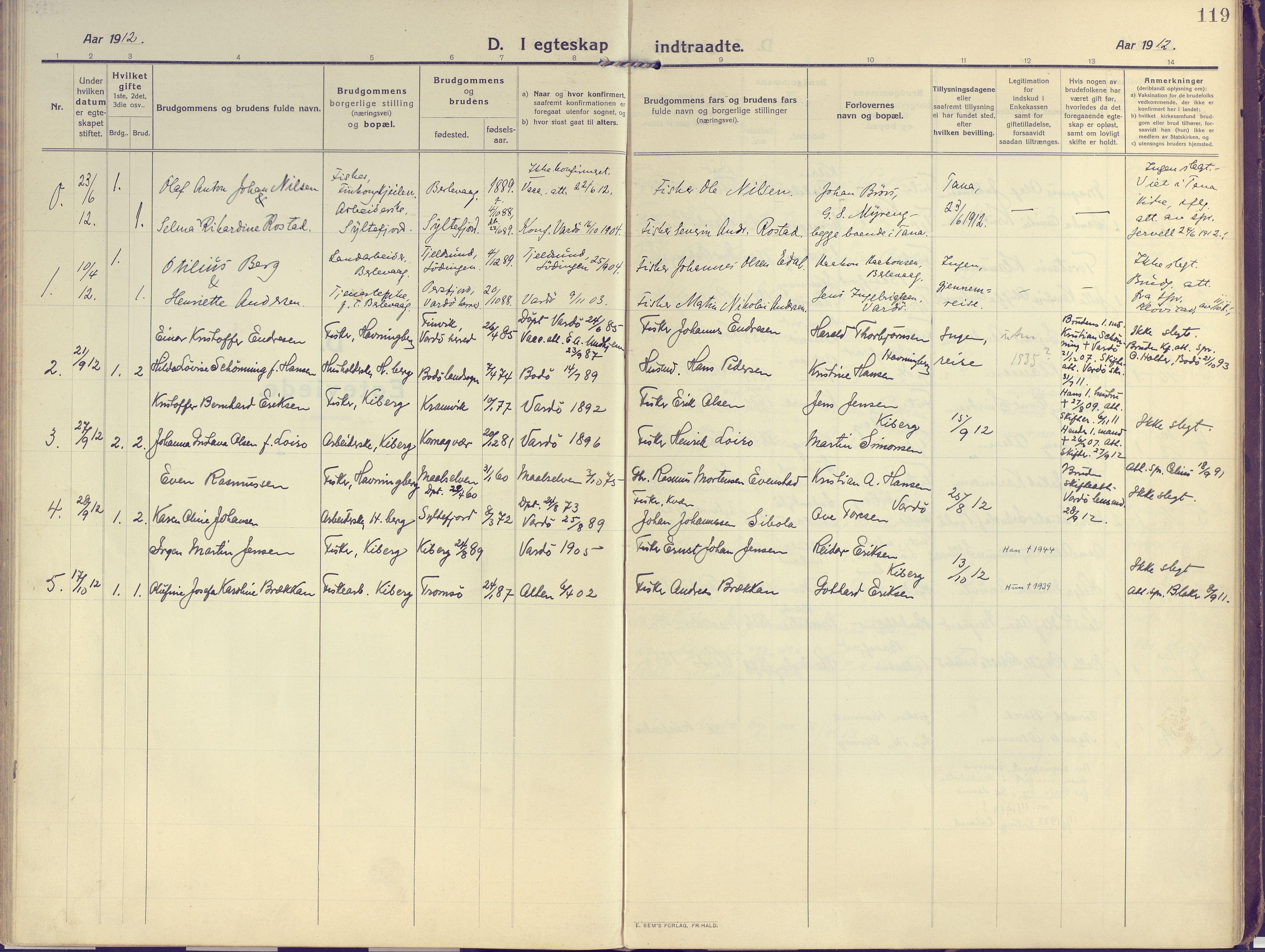SATØ, Vardø sokneprestkontor, H/Ha/L0013kirke: Ministerialbok nr. 13, 1912-1928, s. 119