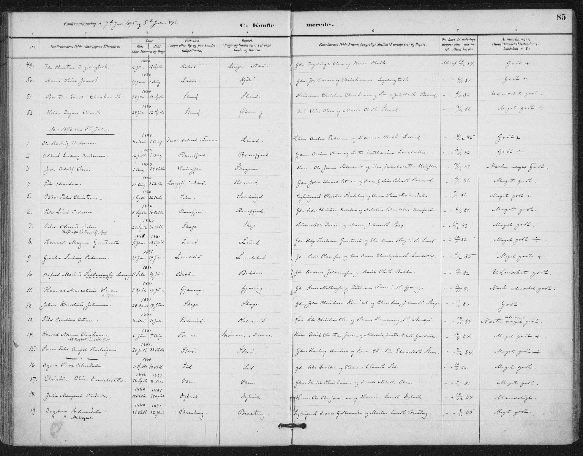 SAT, Ministerialprotokoller, klokkerbøker og fødselsregistre - Nord-Trøndelag, 780/L0644: Ministerialbok nr. 780A08, 1886-1903, s. 85