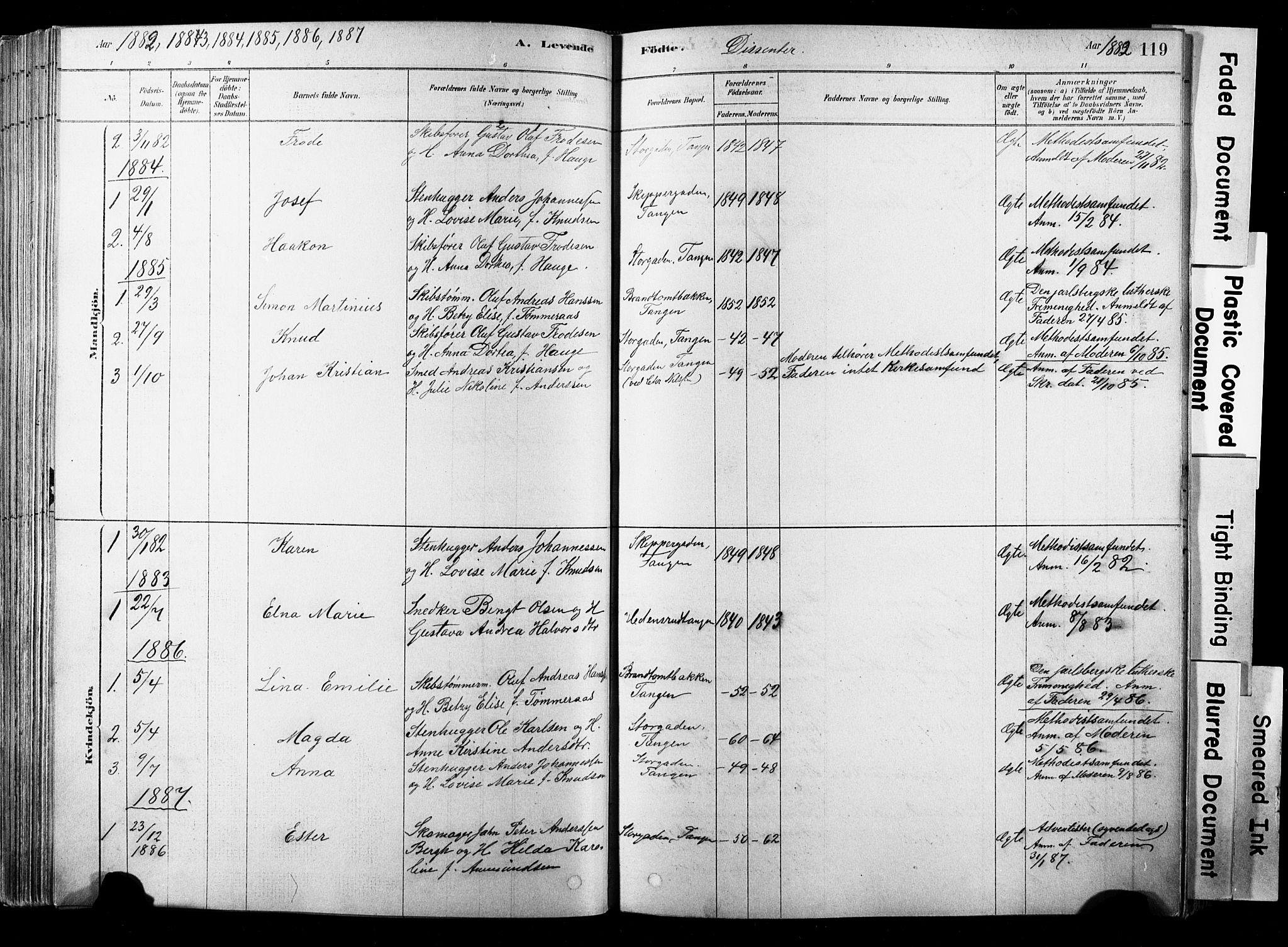 SAKO, Strømsø kirkebøker, F/Fb/L0006: Ministerialbok nr. II 6, 1879-1910, s. 119