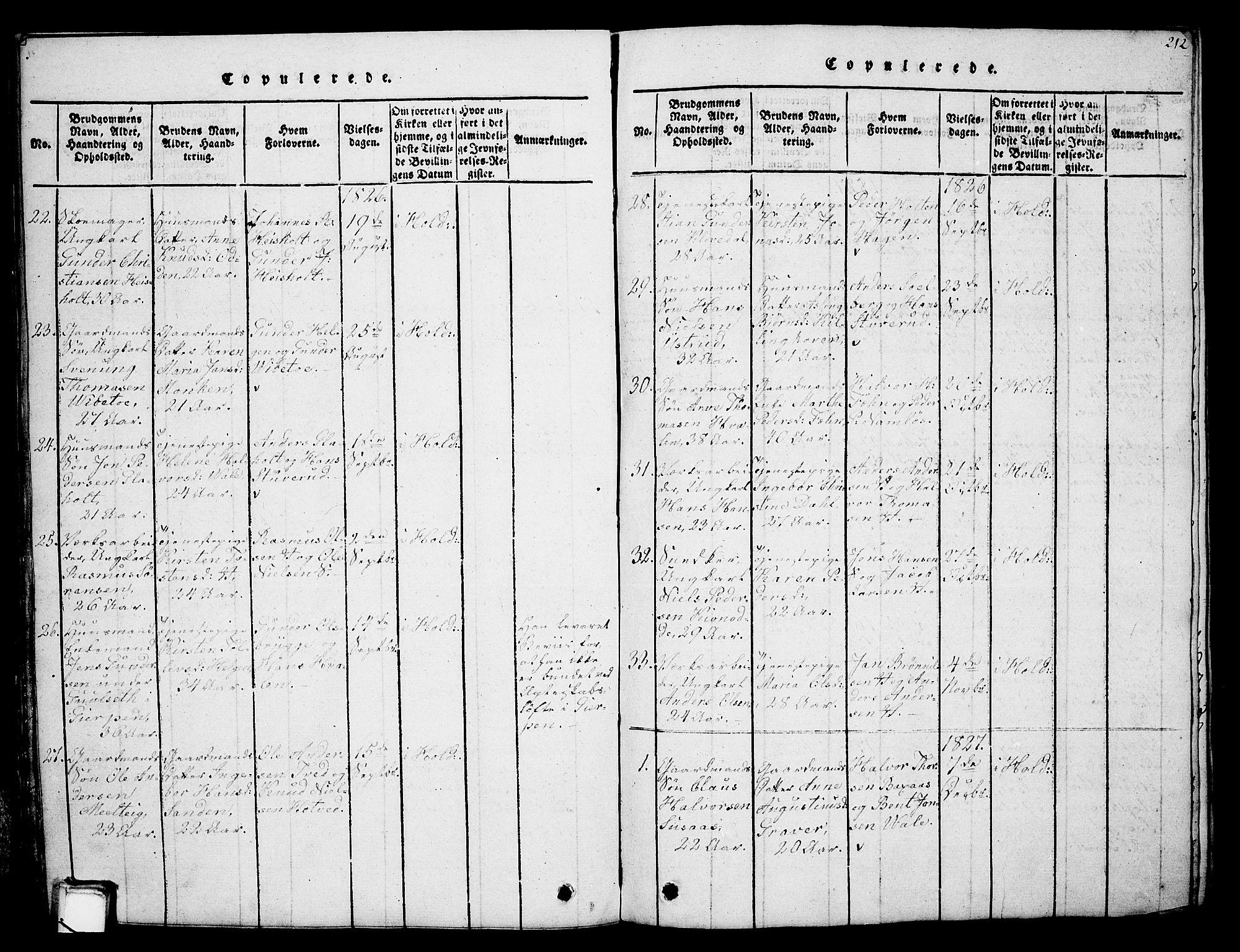 SAKO, Holla kirkebøker, G/Ga/L0001: Klokkerbok nr. I 1, 1814-1830, s. 212