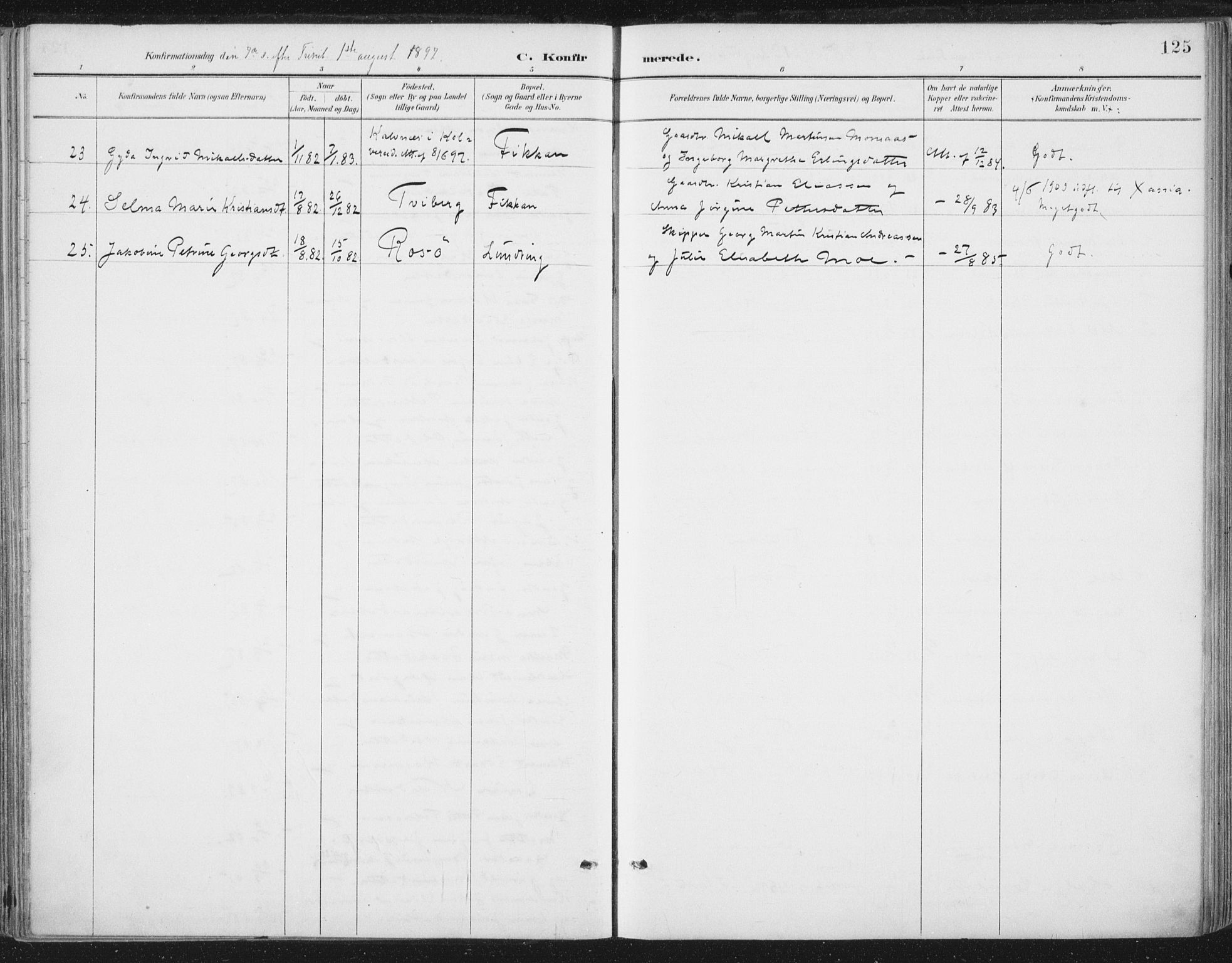 SAT, Ministerialprotokoller, klokkerbøker og fødselsregistre - Nord-Trøndelag, 784/L0673: Ministerialbok nr. 784A08, 1888-1899, s. 125