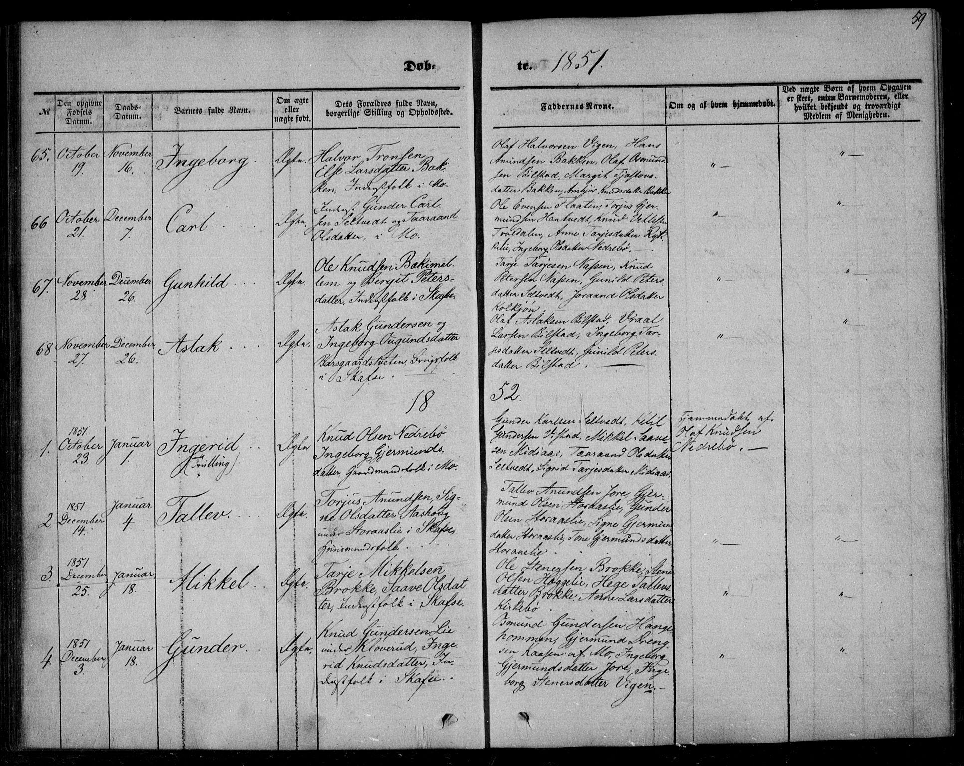 SAKO, Mo kirkebøker, F/Fa/L0005: Ministerialbok nr. I 5, 1844-1864, s. 59