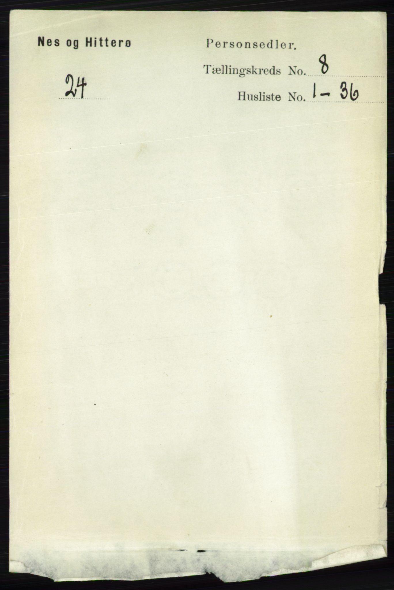 RA, Folketelling 1891 for 1043 Hidra og Nes herred, 1891, s. 3309