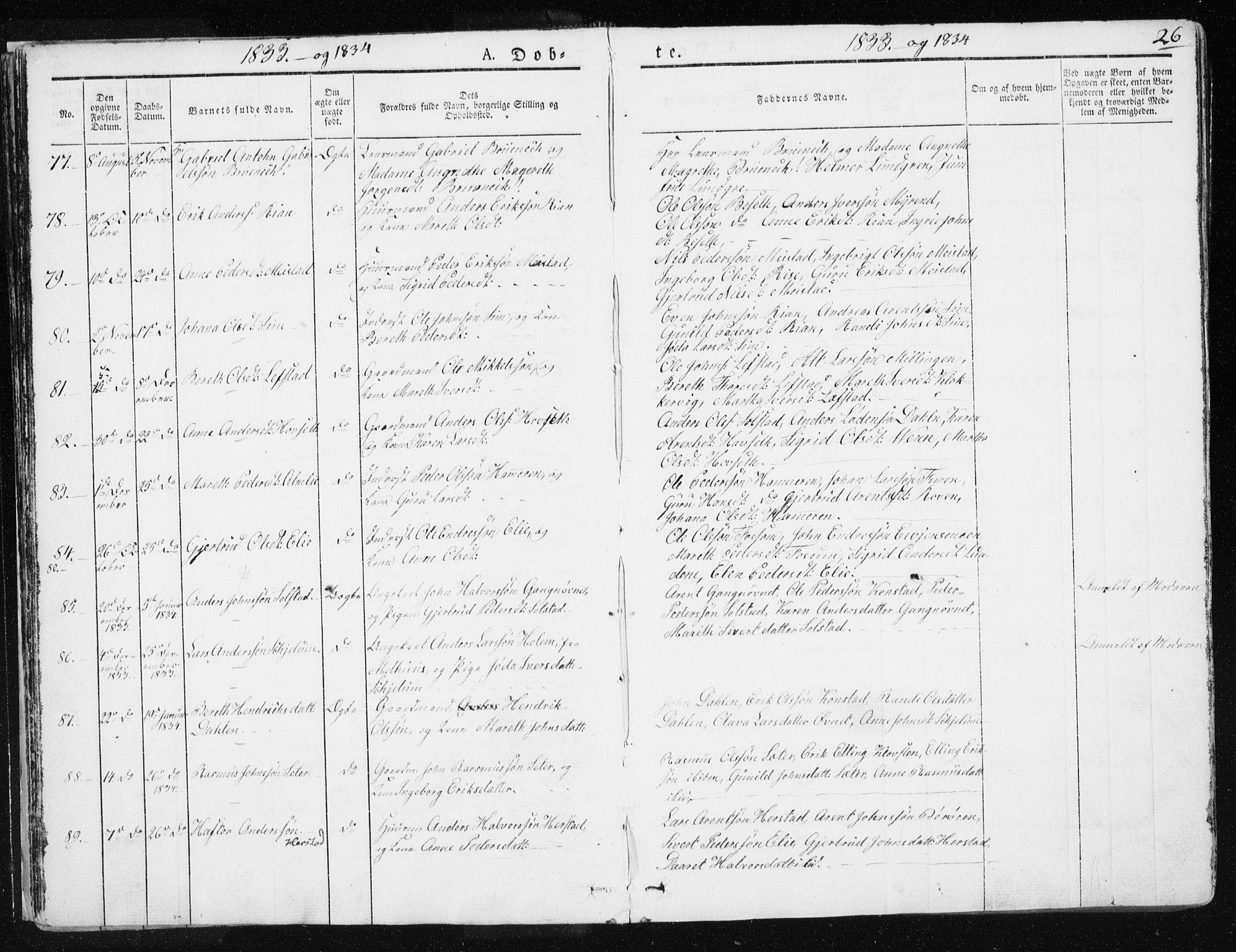 SAT, Ministerialprotokoller, klokkerbøker og fødselsregistre - Sør-Trøndelag, 665/L0771: Ministerialbok nr. 665A06, 1830-1856, s. 26