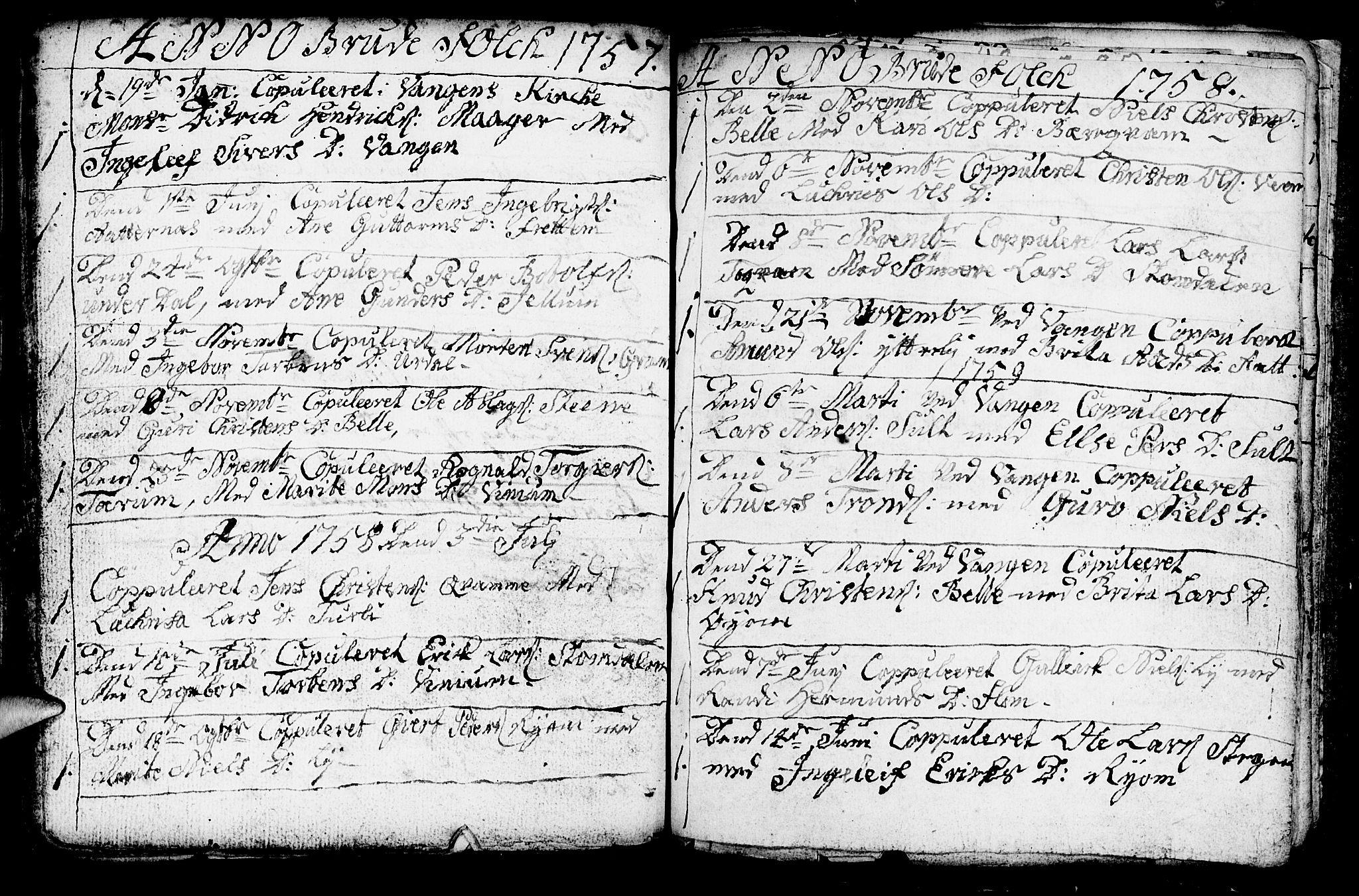 SAB, Aurland Sokneprestembete*, Ministerialbok nr. A 3, 1735-1761, s. 198