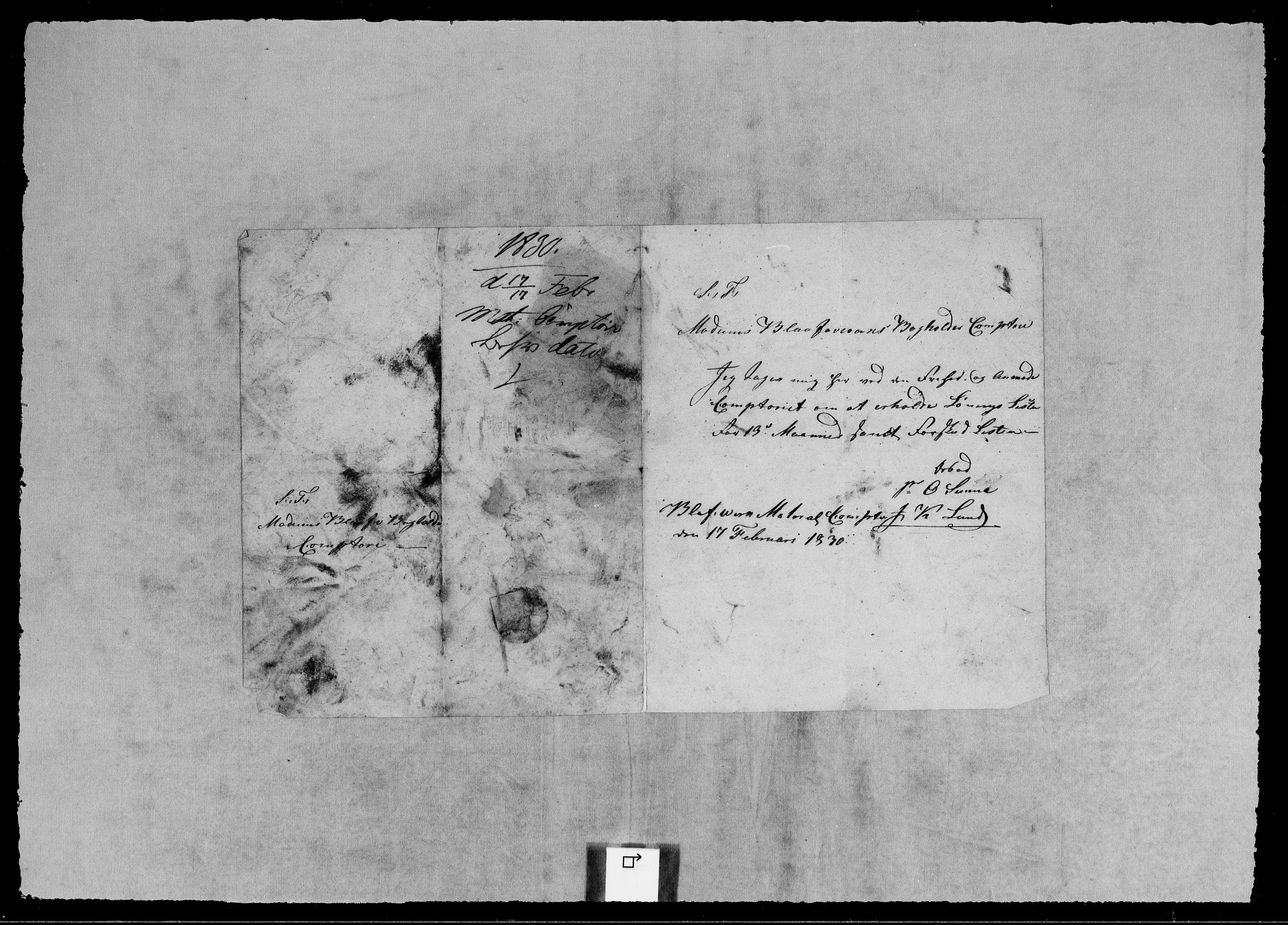 RA, Modums Blaafarveværk, G/Gb/L0104, 1829-1830, s. 2