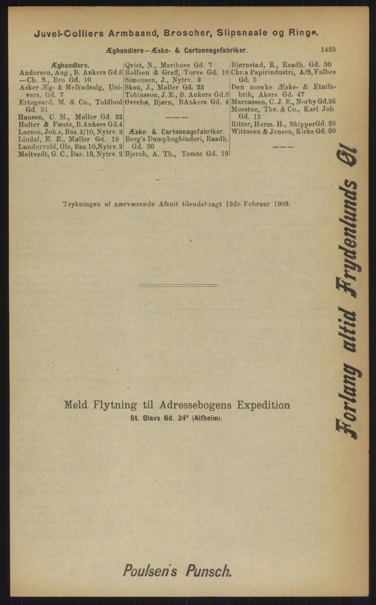 RA, Kristiania adressebok (publikasjon)*, 1903, s. 1425