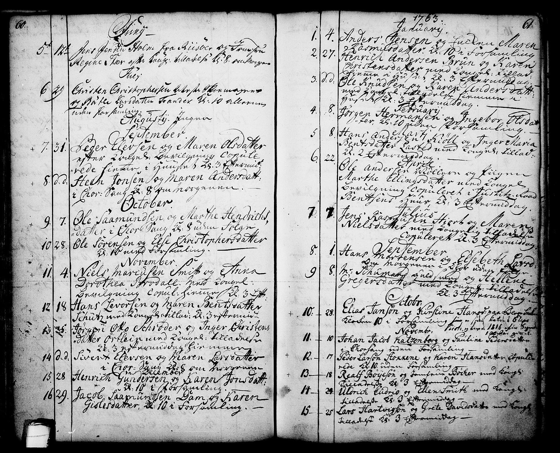 SAKO, Skien kirkebøker, F/Fa/L0003: Ministerialbok nr. 3, 1755-1791, s. 60-61