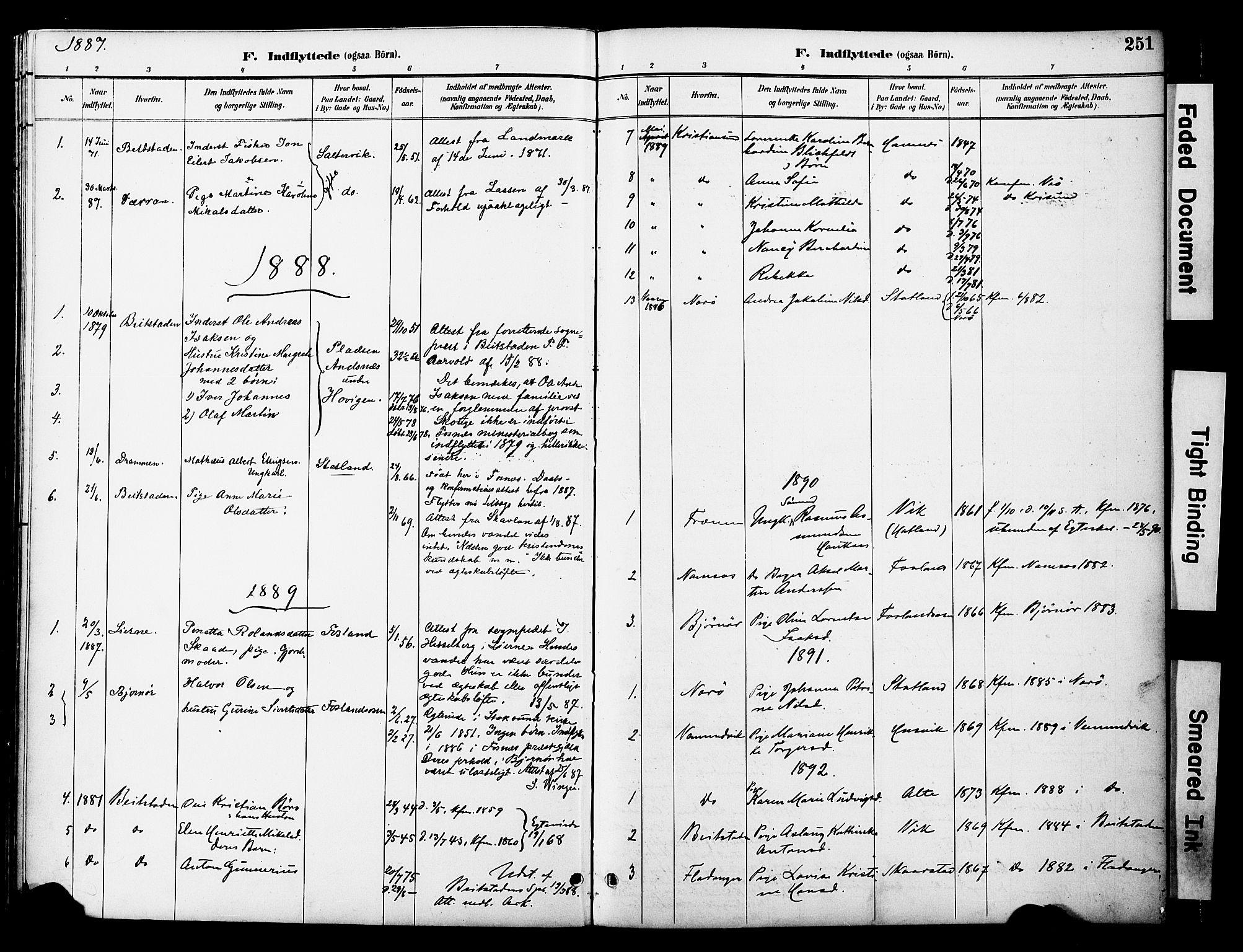 SAT, Ministerialprotokoller, klokkerbøker og fødselsregistre - Nord-Trøndelag, 774/L0628: Ministerialbok nr. 774A02, 1887-1903, s. 251