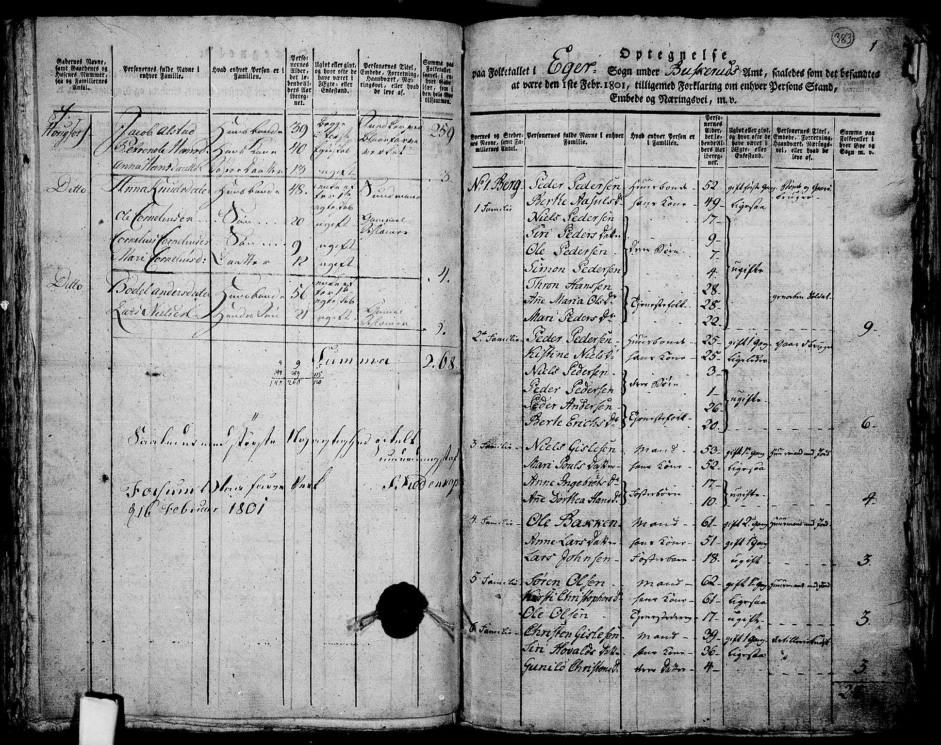 RA, Folketelling 1801 for 0624P Eiker prestegjeld, 1801, s. 382f-383a