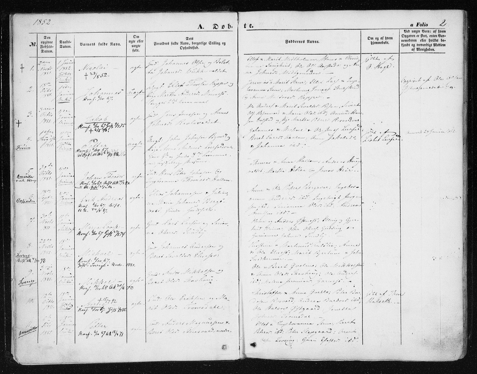 SAT, Ministerialprotokoller, klokkerbøker og fødselsregistre - Nord-Trøndelag, 723/L0240: Ministerialbok nr. 723A09, 1852-1860, s. 2
