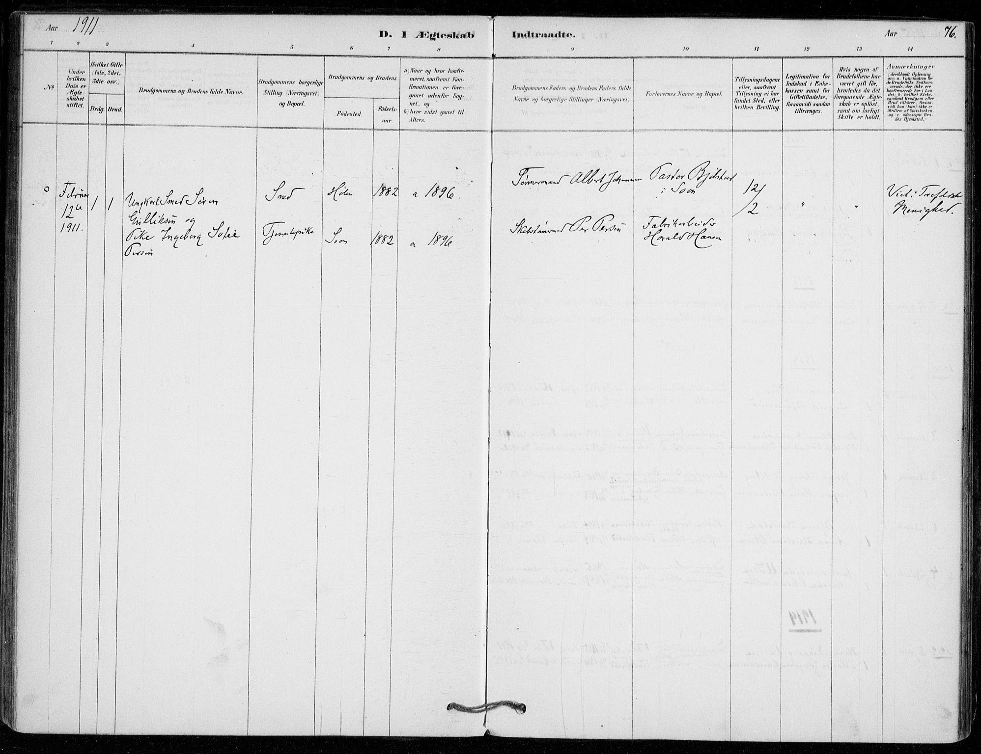 SAO, Vestby prestekontor Kirkebøker, F/Fe/L0001: Ministerialbok nr. V 1, 1878-1931, s. 76