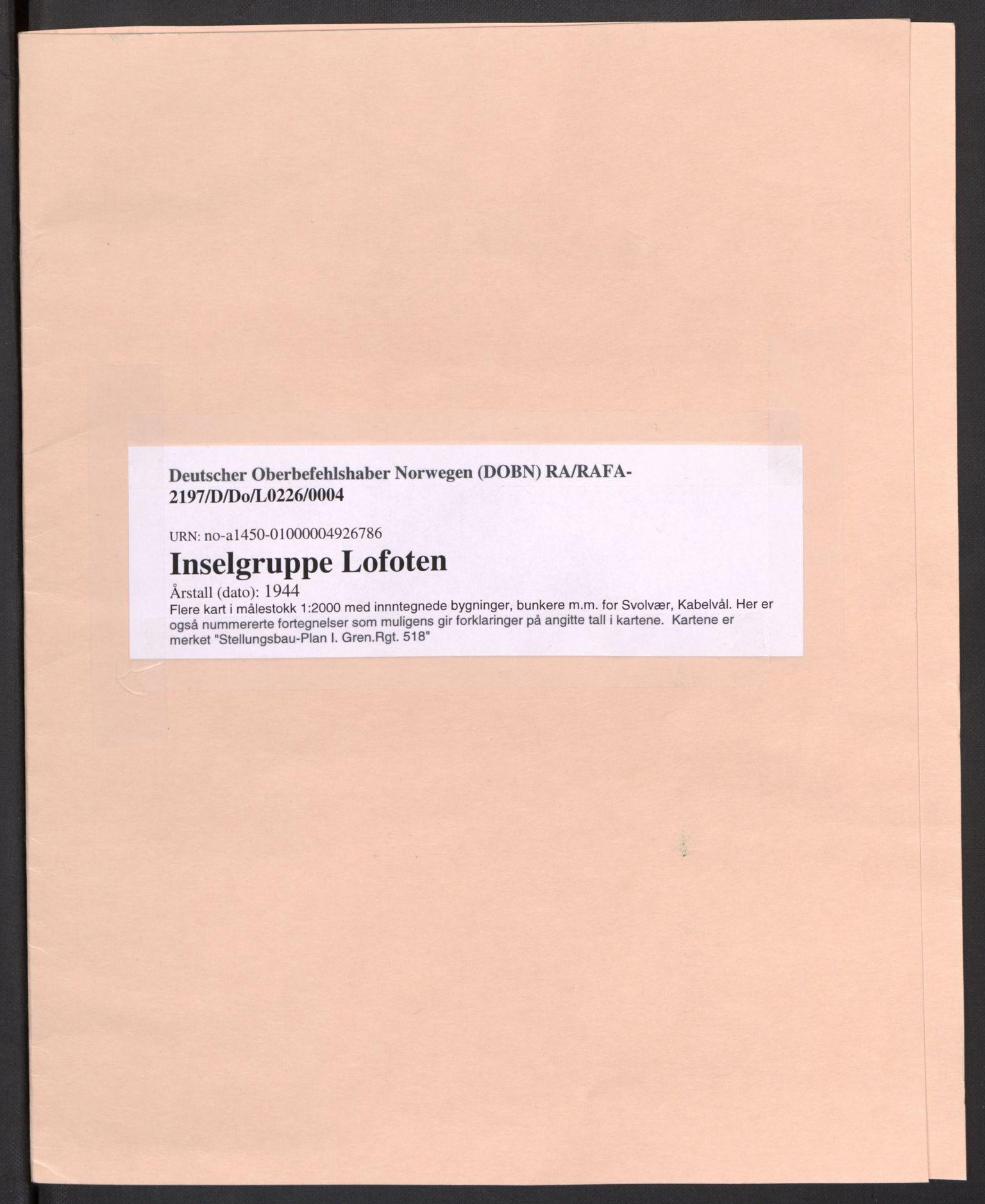 RA, Deutscher Oberbefehlshaber Norwegen (DOBN), D/Do/L0226: DBT Abt 1a, 1944