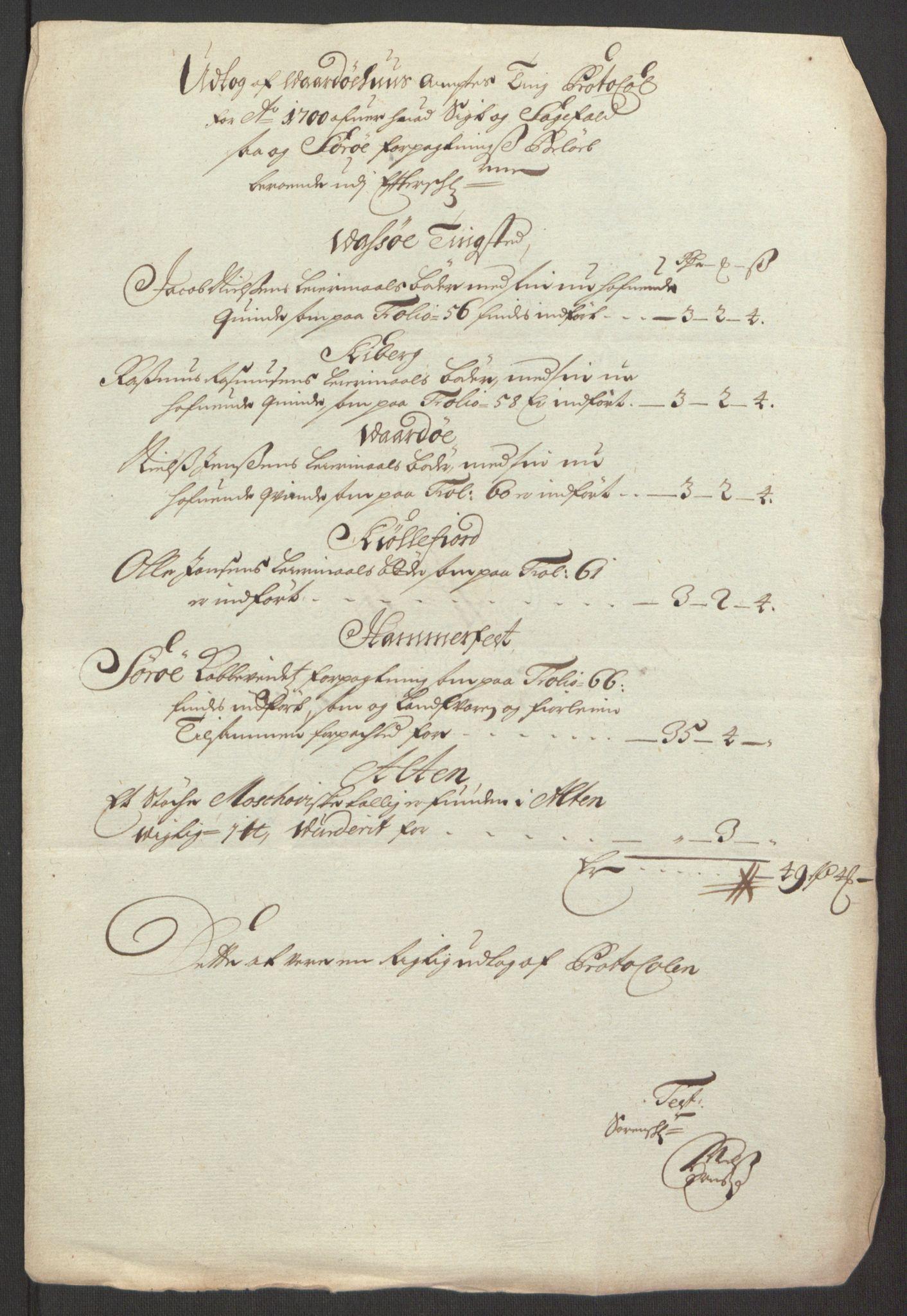 RA, Rentekammeret inntil 1814, Reviderte regnskaper, Fogderegnskap, R69/L4851: Fogderegnskap Finnmark/Vardøhus, 1691-1700, s. 477