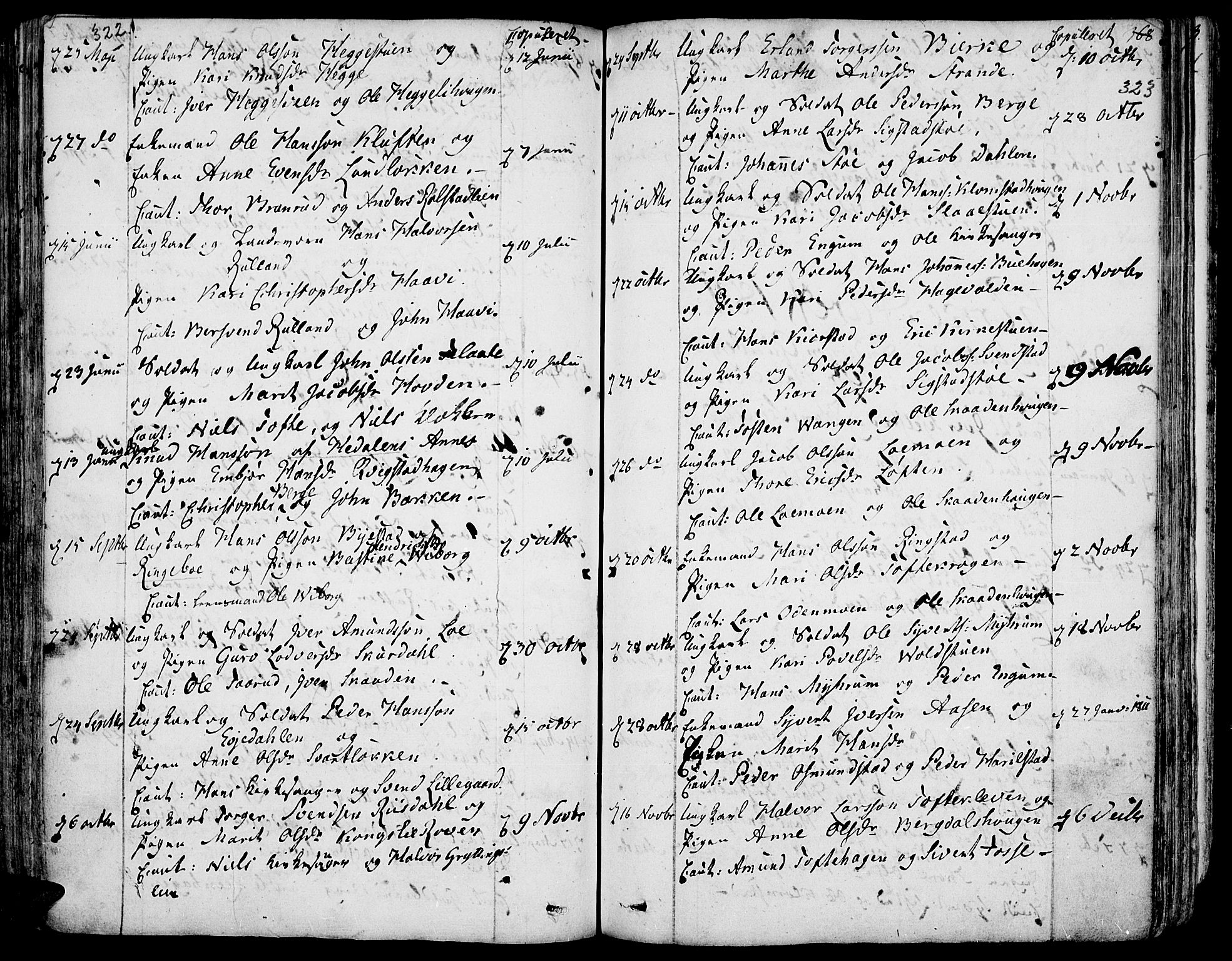 SAH, Fron prestekontor, H/Ha/Haa/L0001: Ministerialbok nr. 1, 1799-1816, s. 322-323