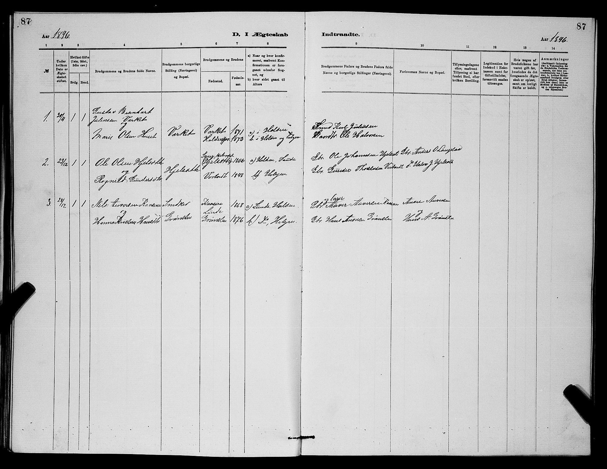 SAKO, Holla kirkebøker, G/Gb/L0001: Klokkerbok nr. II 1, 1882-1897, s. 87