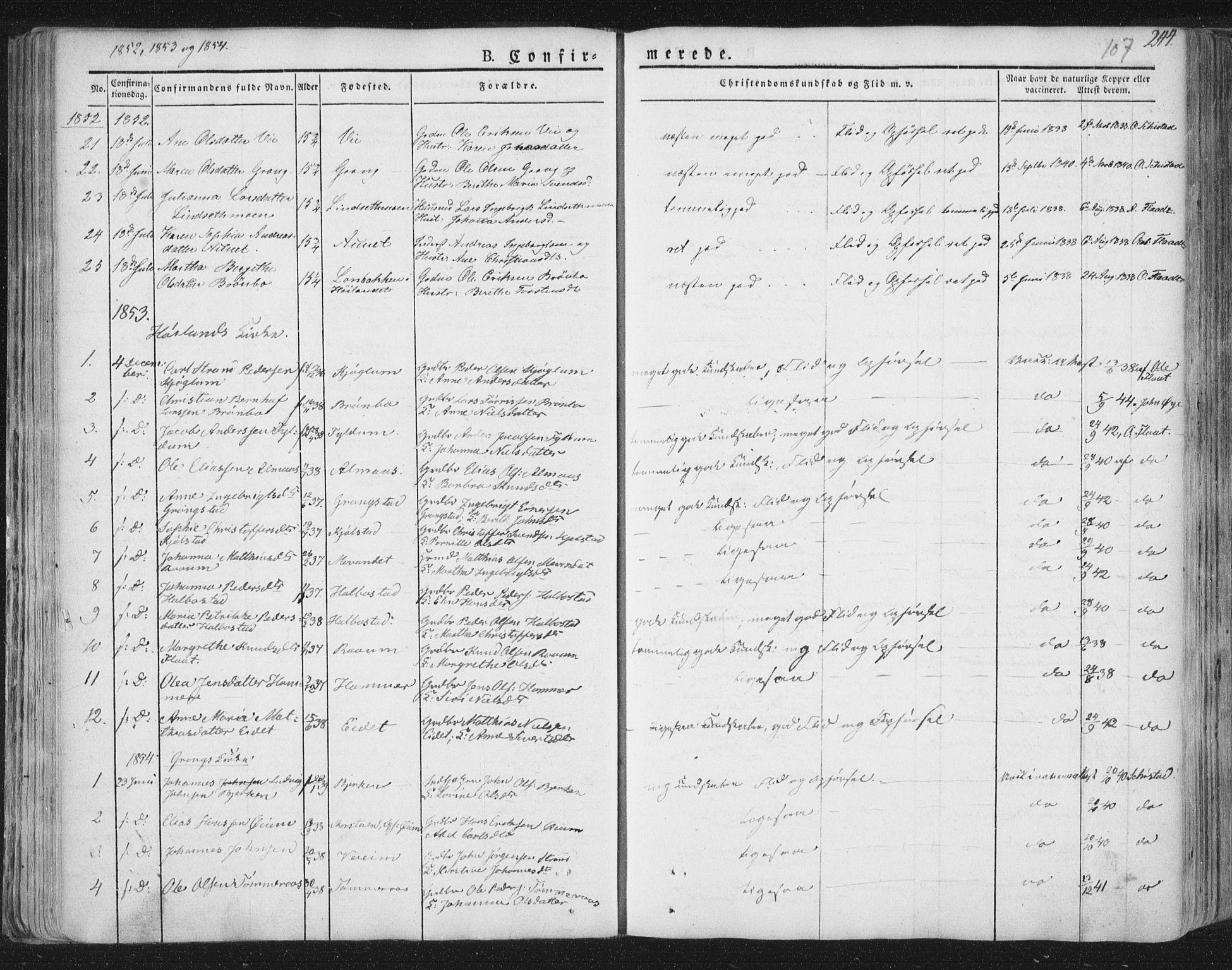 SAT, Ministerialprotokoller, klokkerbøker og fødselsregistre - Nord-Trøndelag, 758/L0513: Ministerialbok nr. 758A02 /1, 1839-1868, s. 107