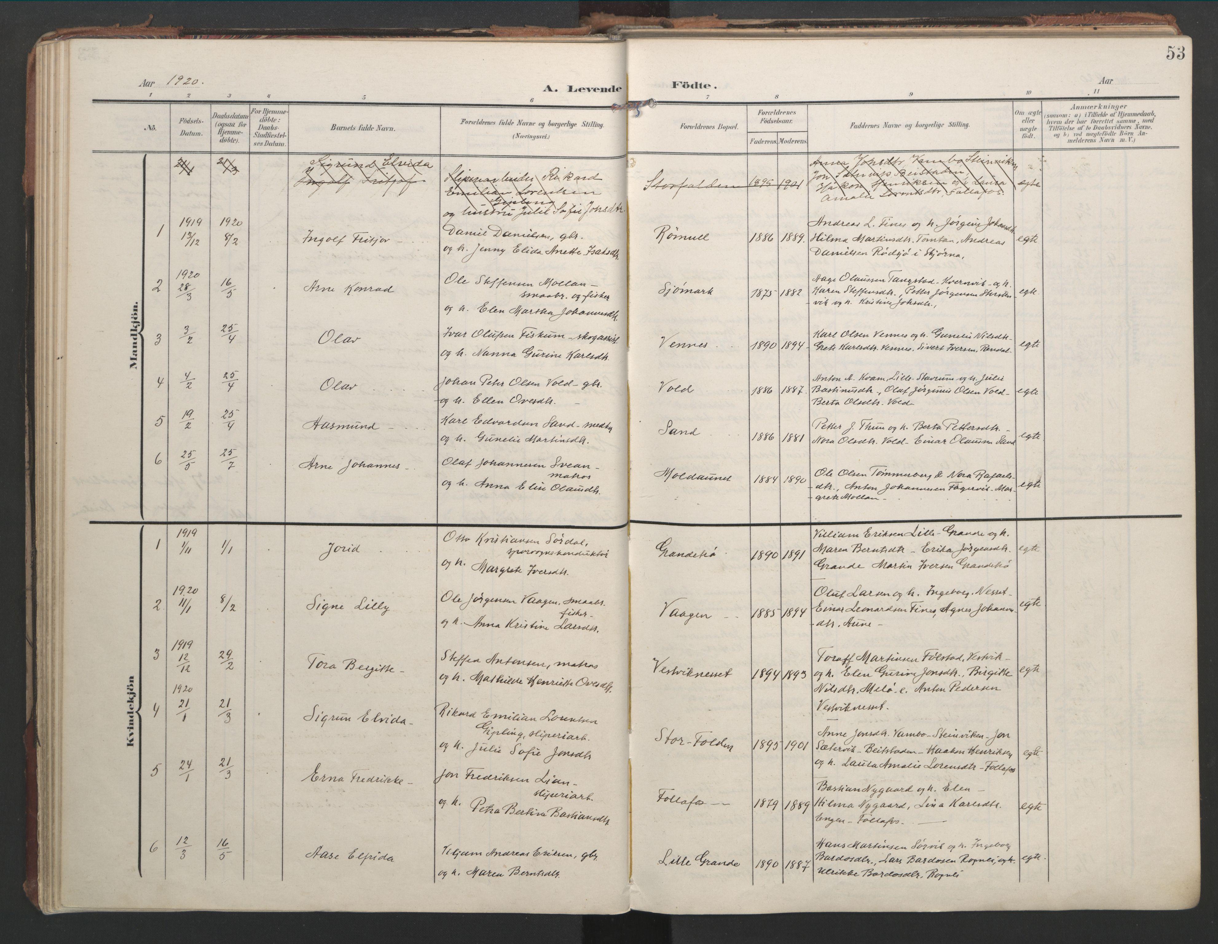 SAT, Ministerialprotokoller, klokkerbøker og fødselsregistre - Nord-Trøndelag, 744/L0421: Ministerialbok nr. 744A05, 1905-1930, s. 53