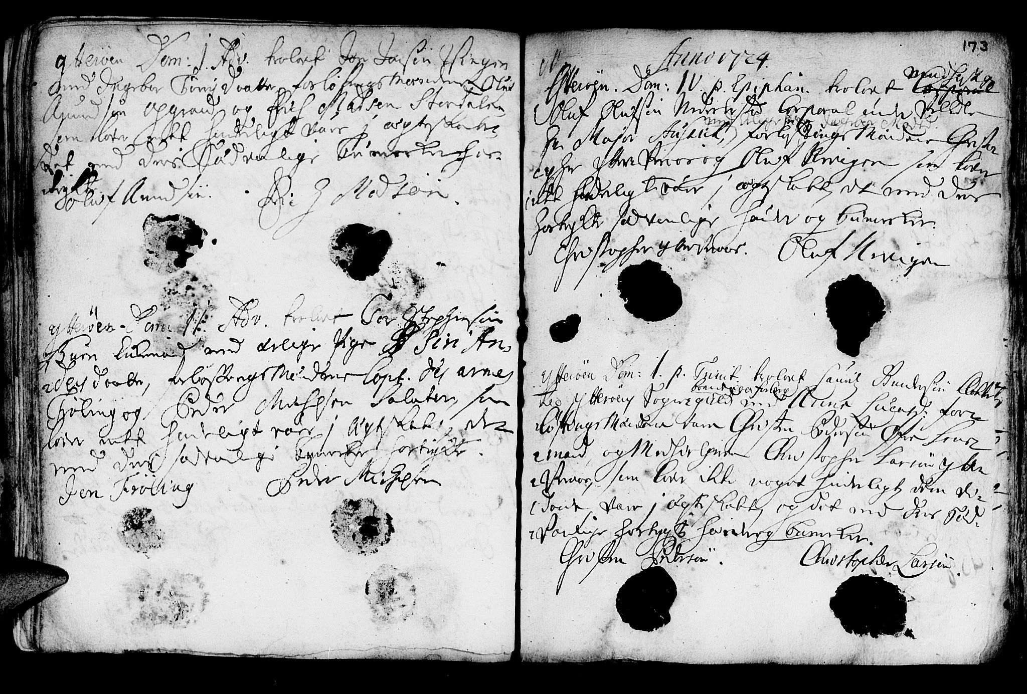 SAT, Ministerialprotokoller, klokkerbøker og fødselsregistre - Nord-Trøndelag, 722/L0215: Ministerialbok nr. 722A02, 1718-1755, s. 173