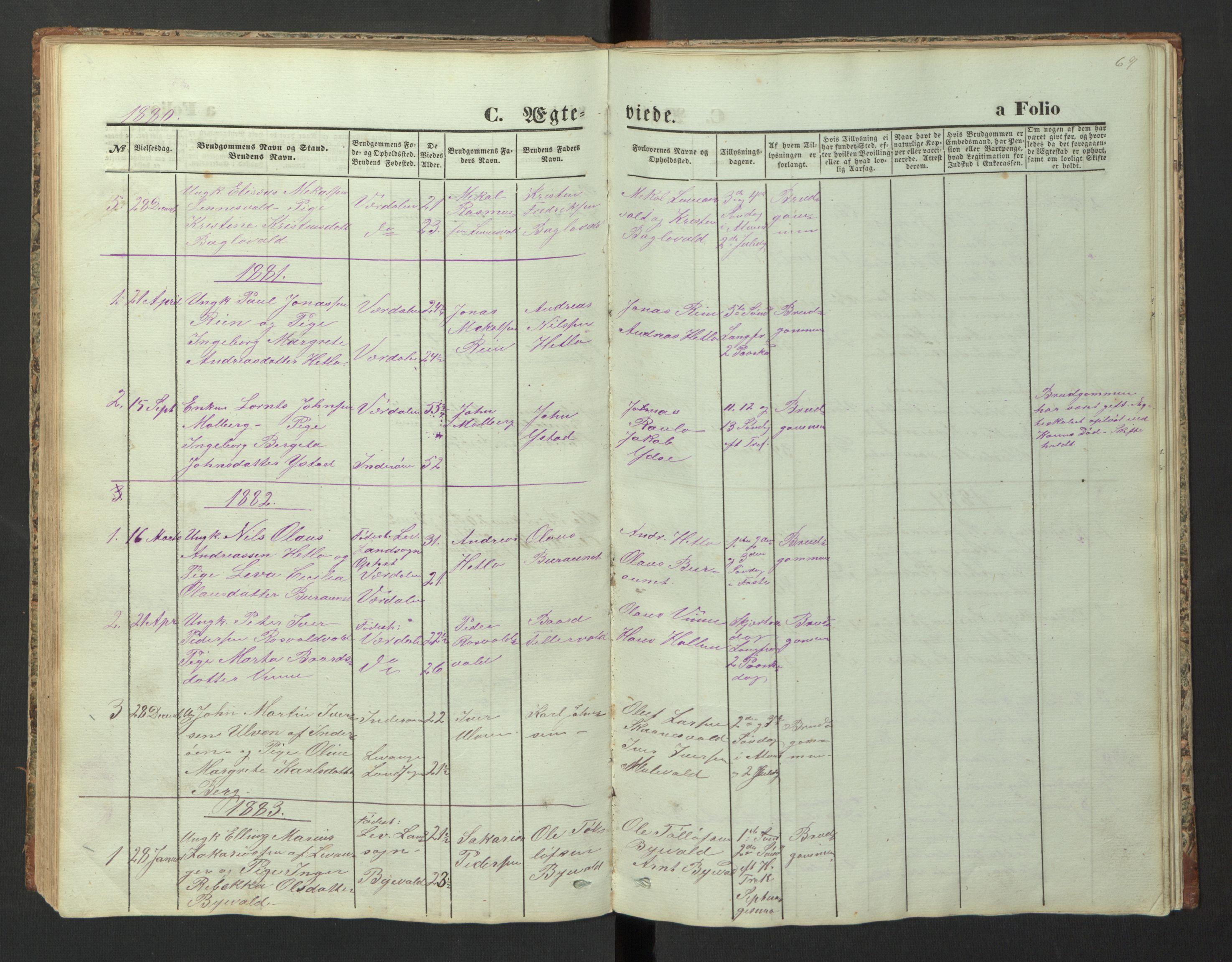 SAT, Ministerialprotokoller, klokkerbøker og fødselsregistre - Nord-Trøndelag, 726/L0271: Klokkerbok nr. 726C02, 1869-1897, s. 69