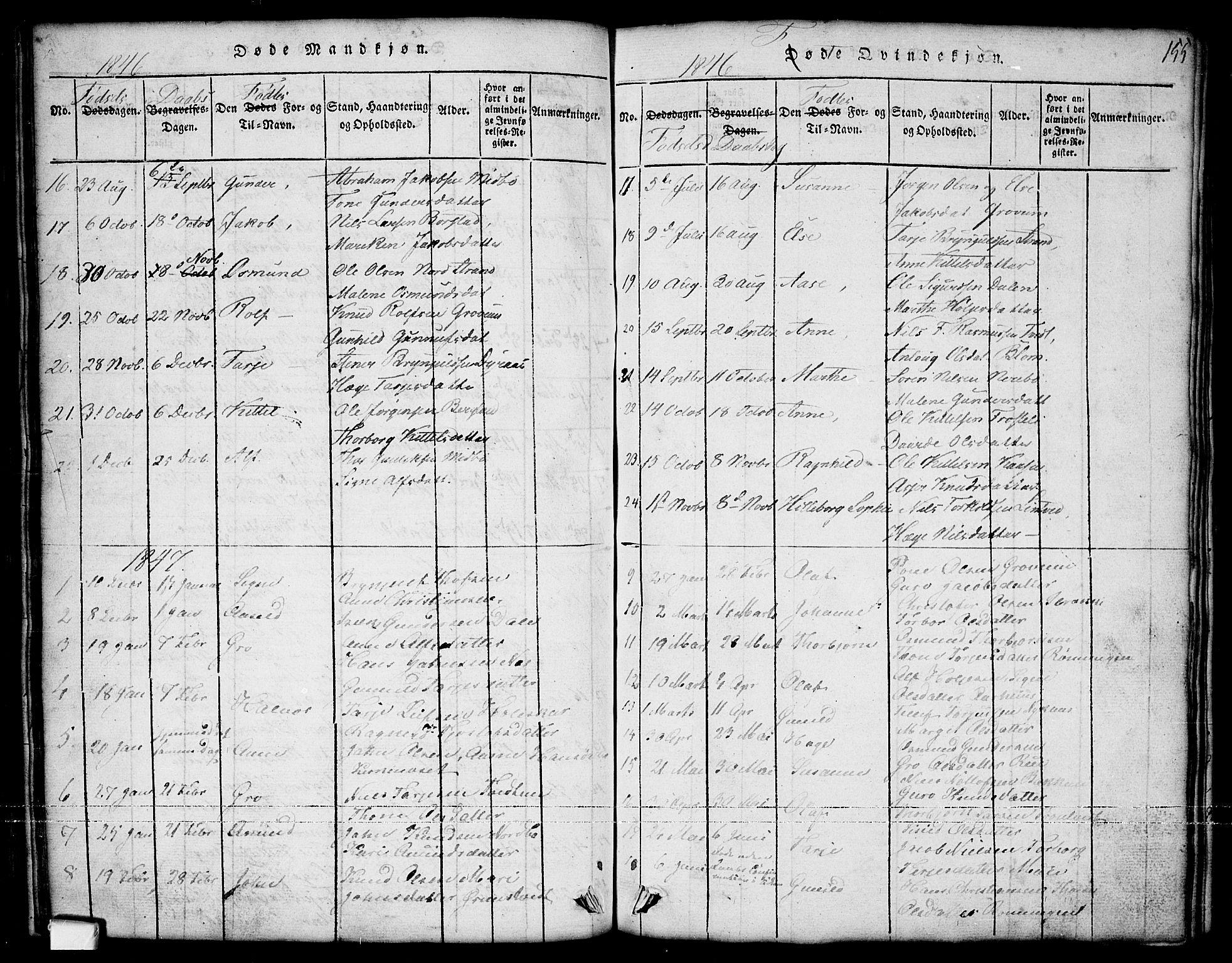 SAKO, Nissedal kirkebøker, G/Ga/L0001: Klokkerbok nr. I 1, 1814-1860, s. 155