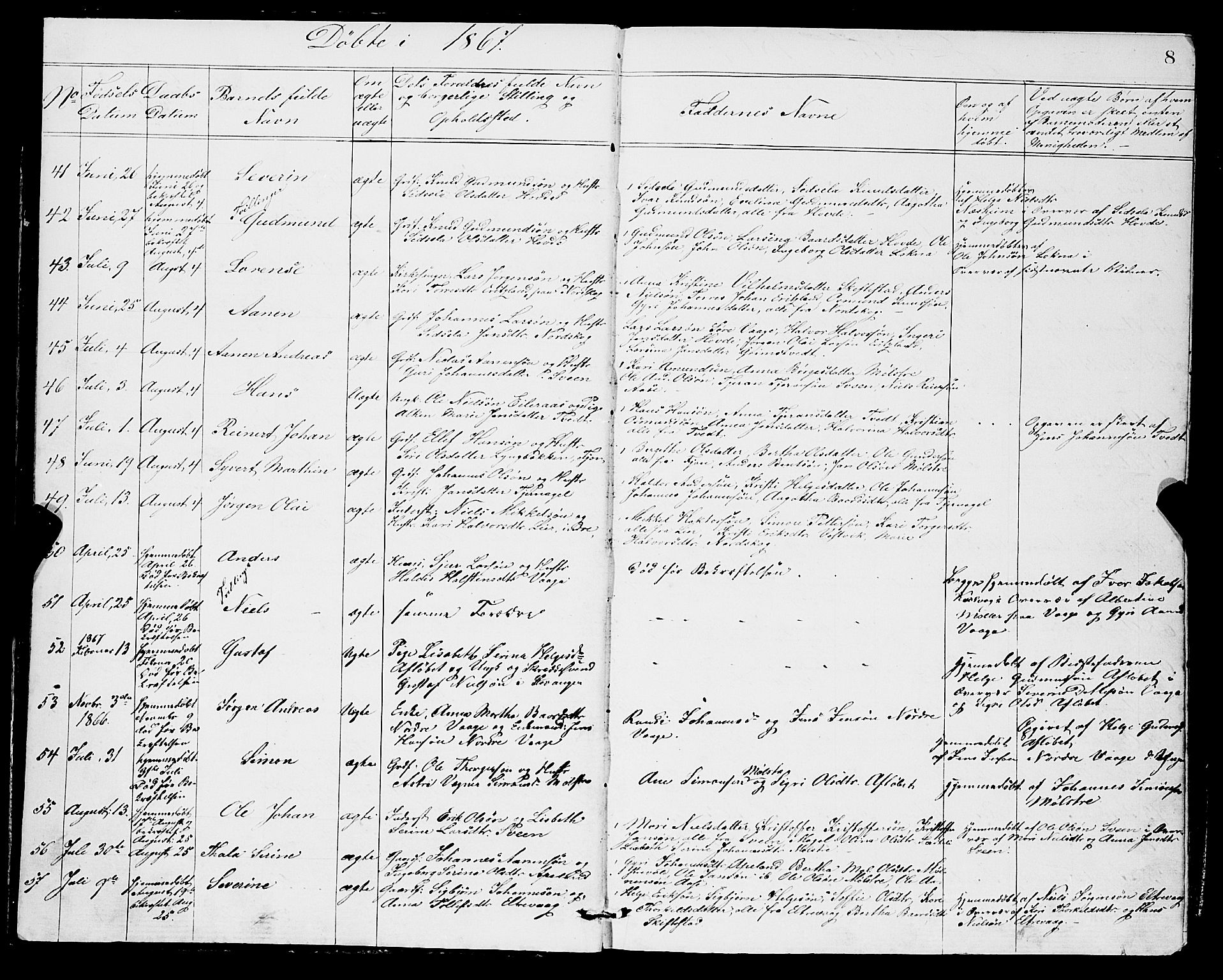 SAB, Sveio Sokneprestembete, H/Hab: Klokkerbok nr. A 2, 1866-1877, s. 8