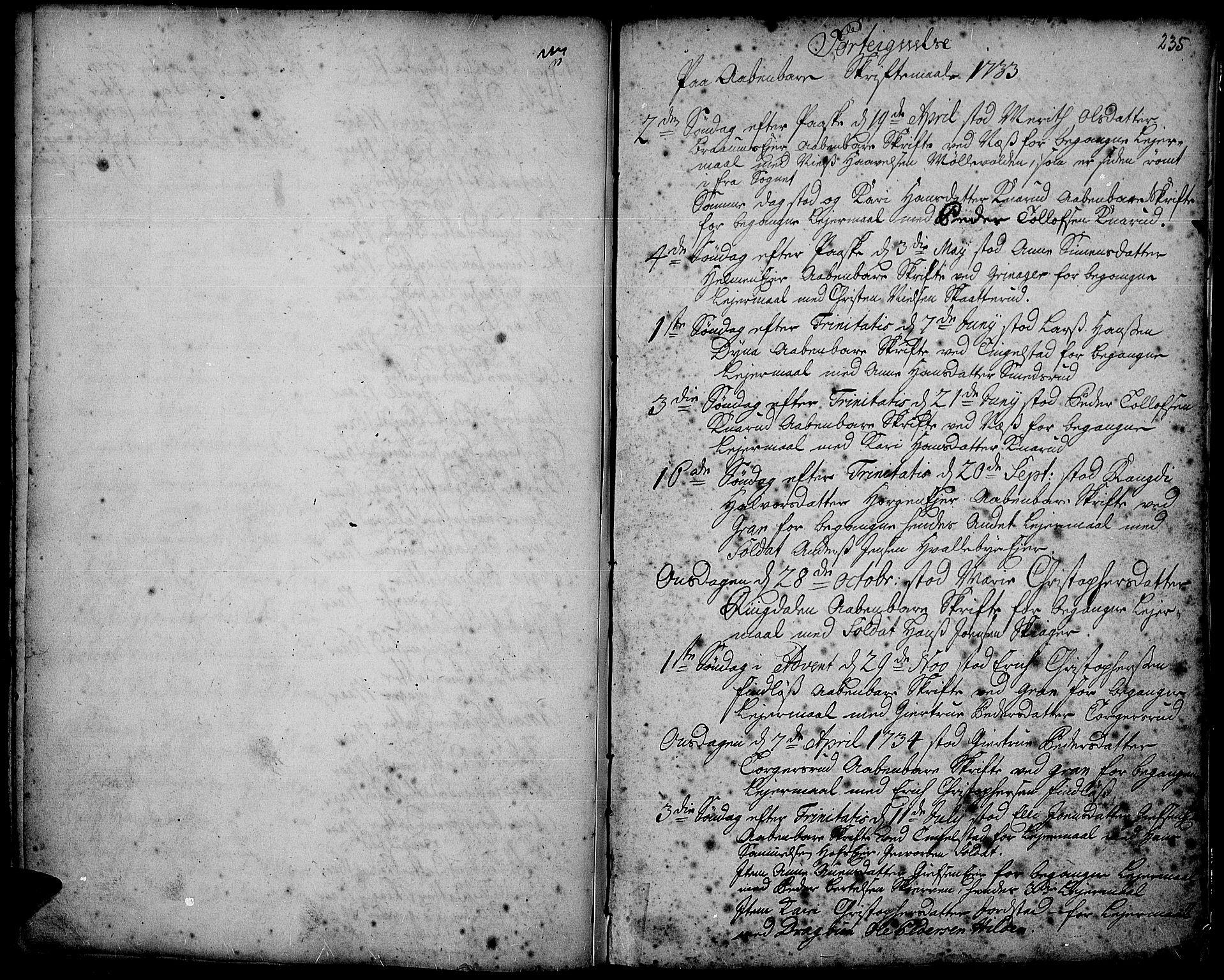 SAH, Gran prestekontor, Ministerialbok nr. 2, 1732-1744, s. 235