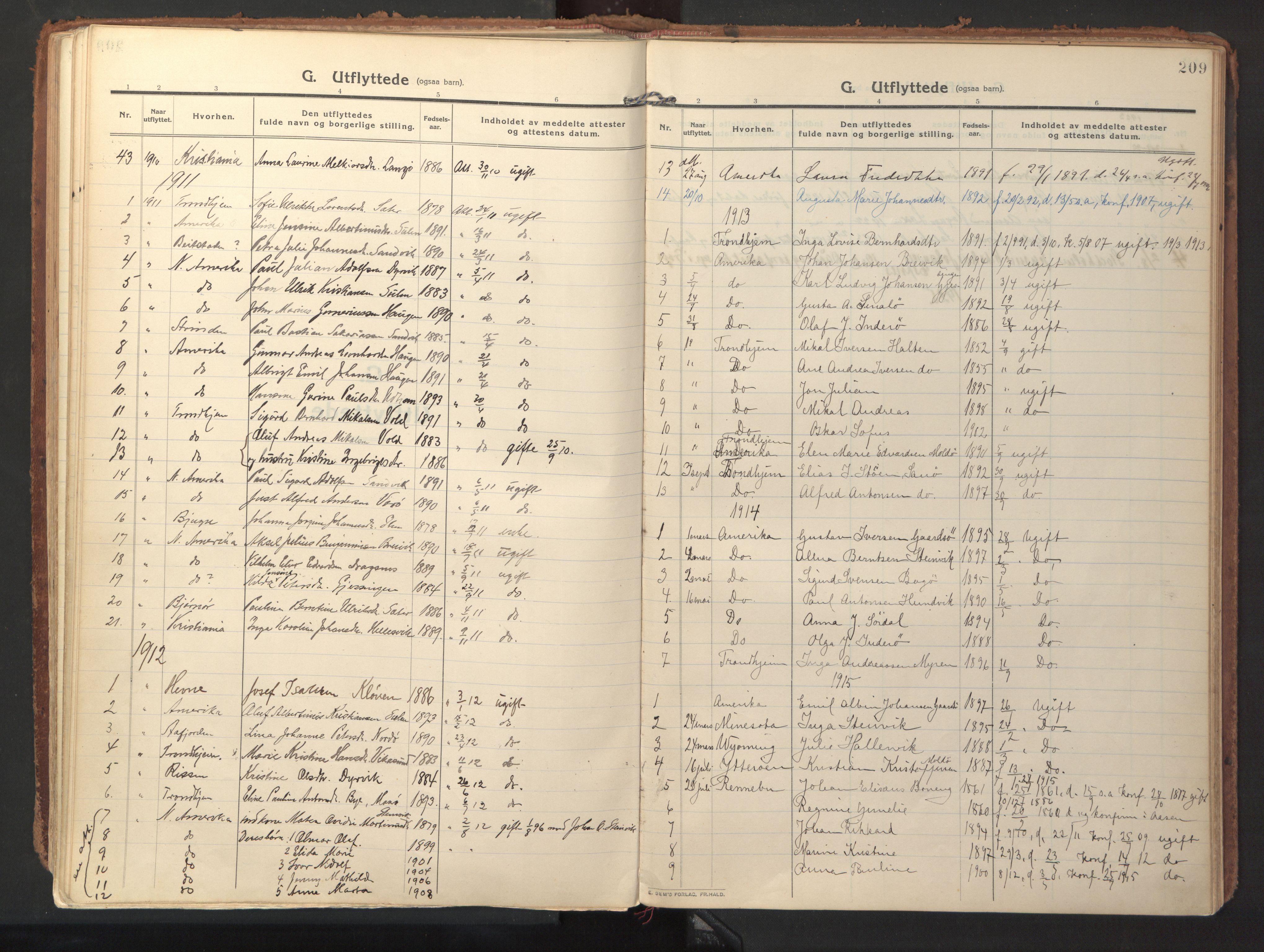 SAT, Ministerialprotokoller, klokkerbøker og fødselsregistre - Sør-Trøndelag, 640/L0581: Ministerialbok nr. 640A06, 1910-1924, s. 209