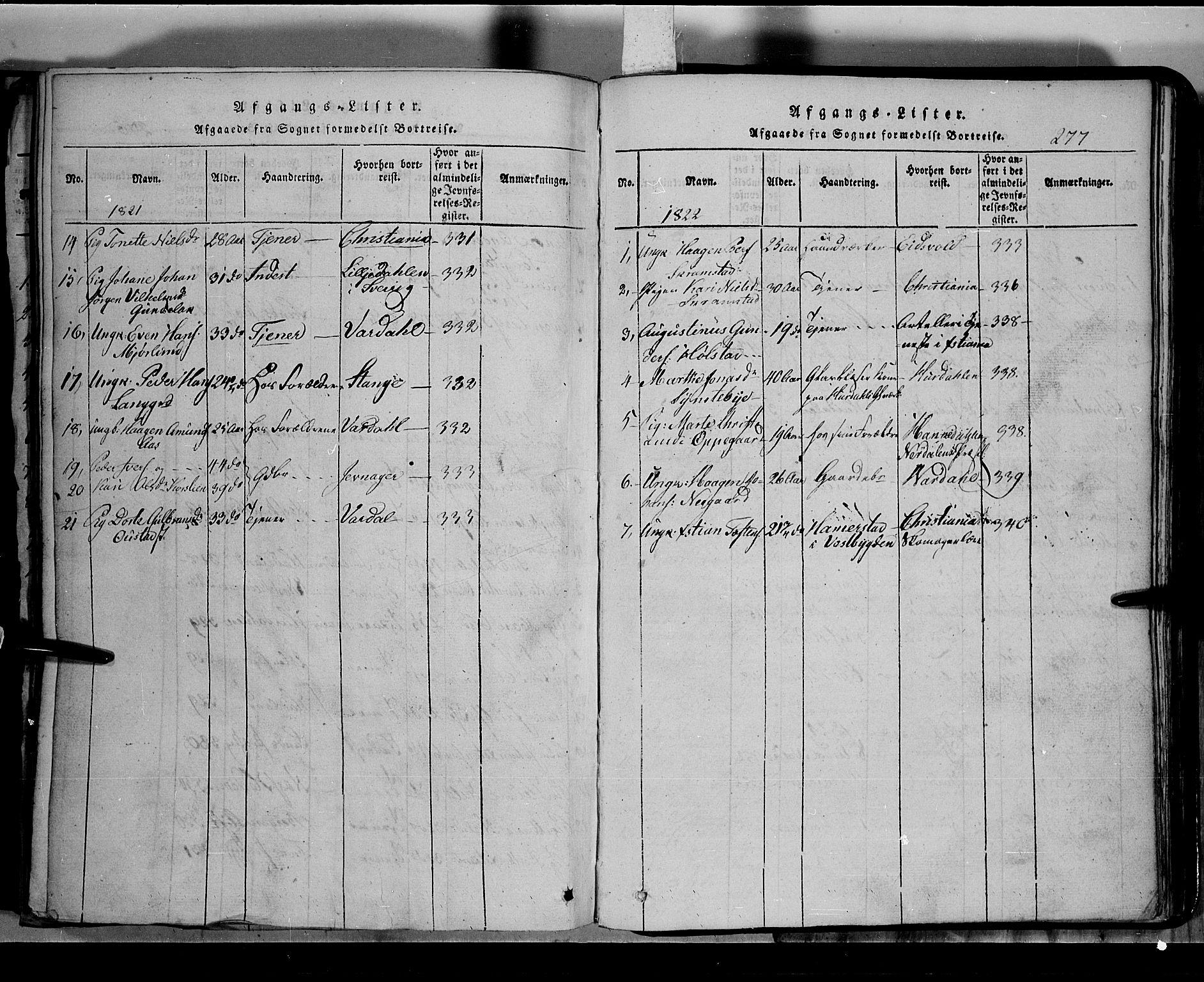 SAH, Toten prestekontor, Klokkerbok nr. 2, 1820-1827, s. 277