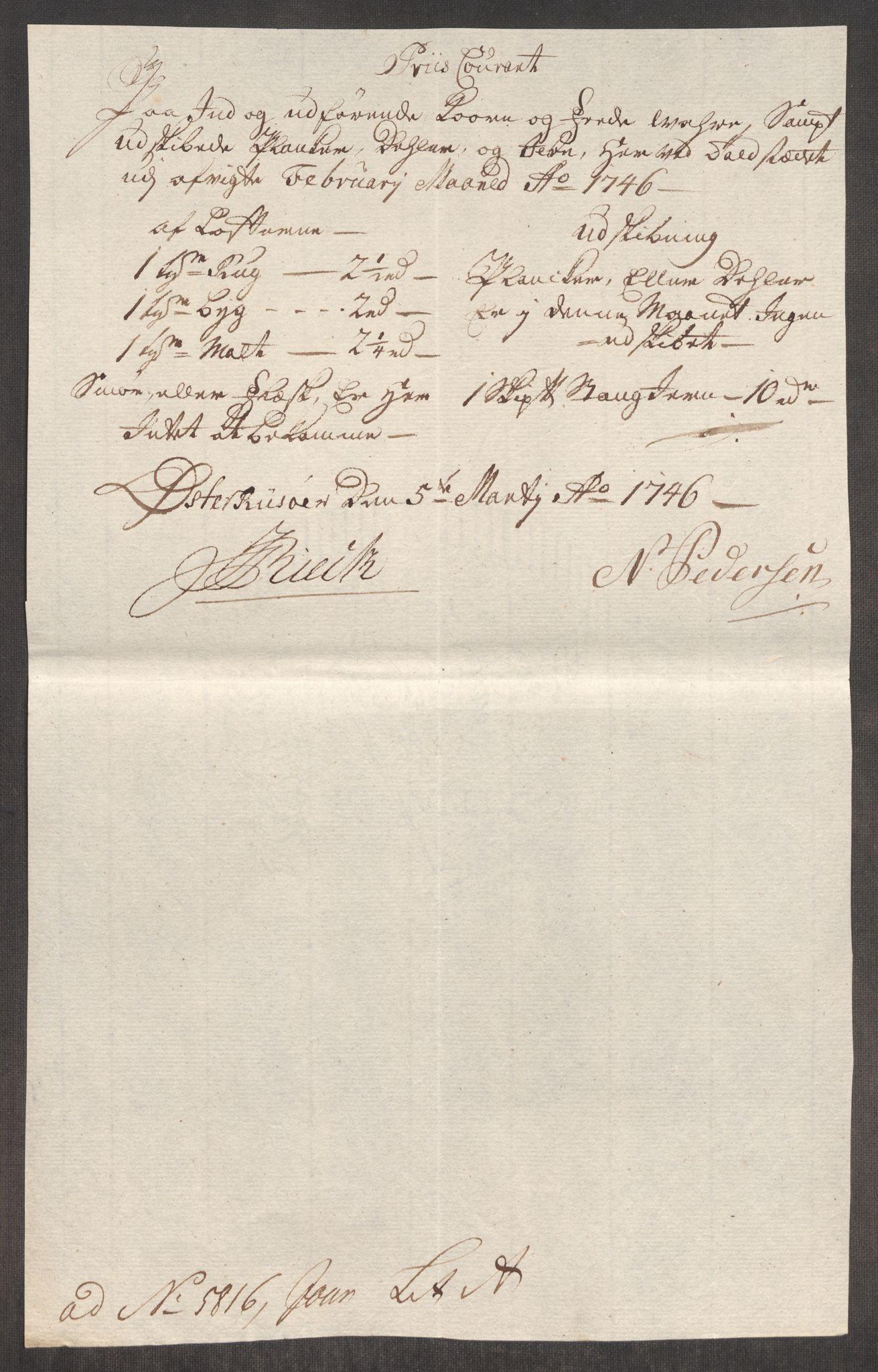 RA, Rentekammeret inntil 1814, Realistisk ordnet avdeling, Oe/L0003: [Ø1]: Priskuranter, 1745-1748, s. 381