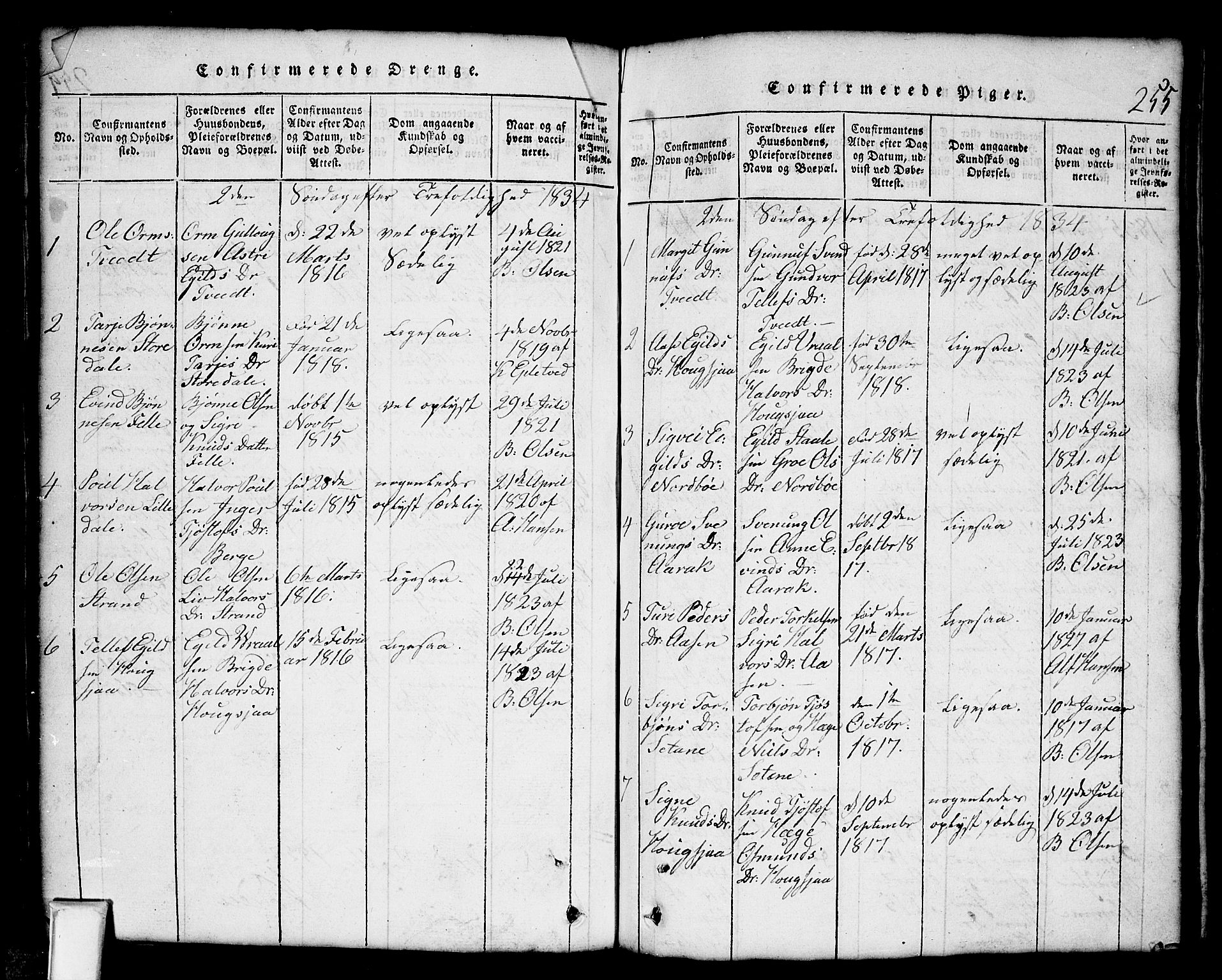 SAKO, Nissedal kirkebøker, G/Gb/L0001: Klokkerbok nr. II 1, 1814-1862, s. 255