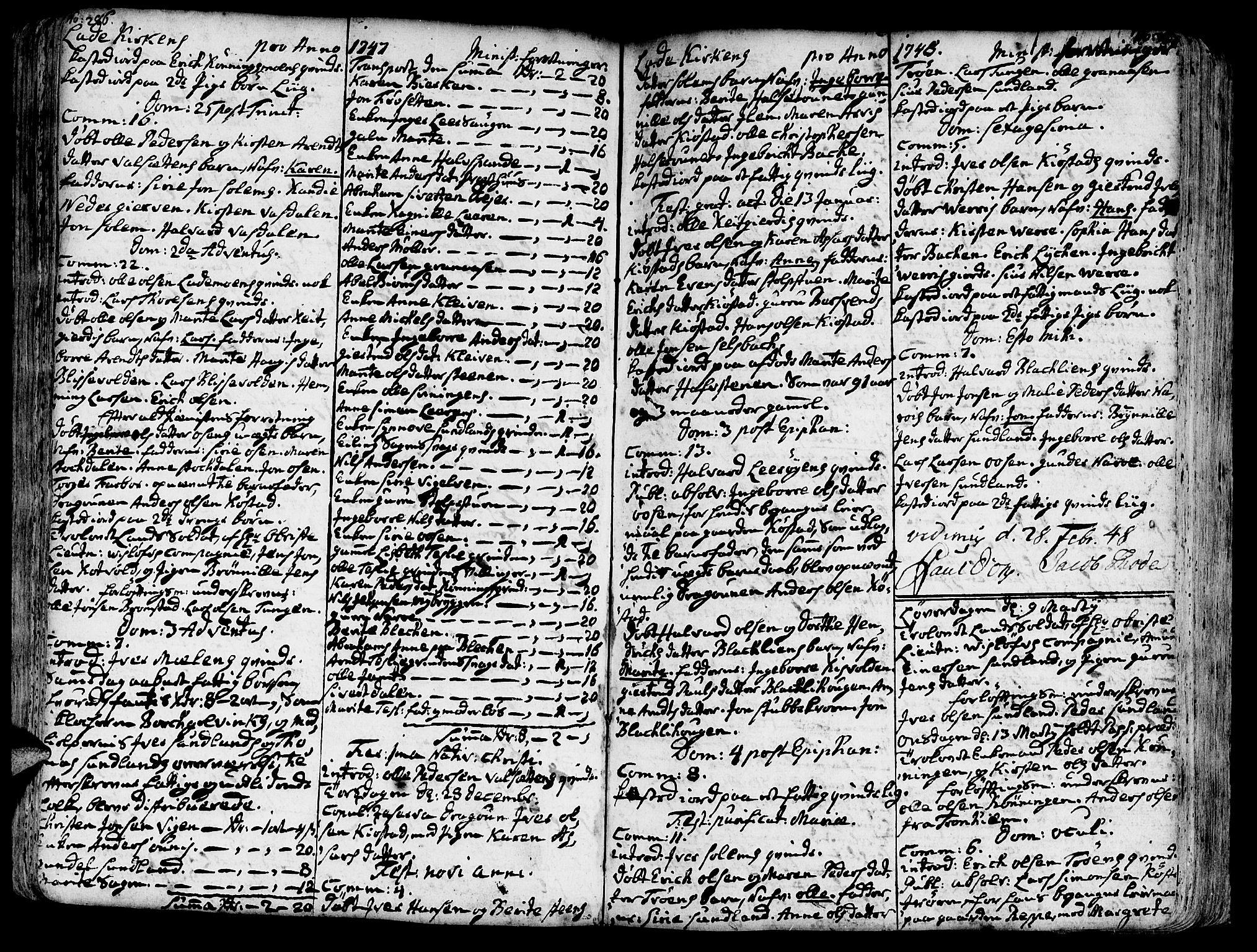 SAT, Ministerialprotokoller, klokkerbøker og fødselsregistre - Sør-Trøndelag, 606/L0275: Ministerialbok nr. 606A01 /1, 1727-1780, s. 286-287