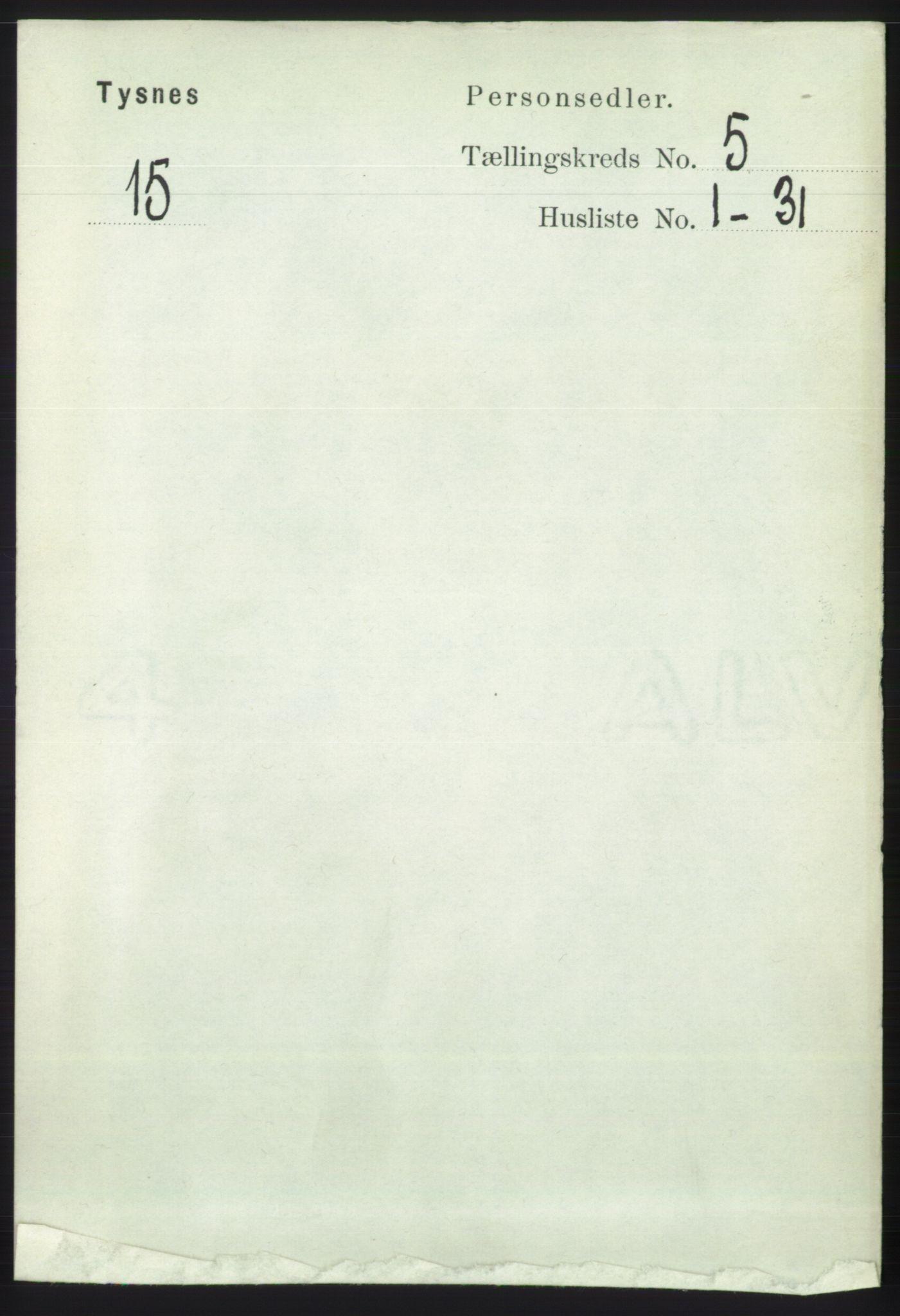 RA, Folketelling 1891 for 1223 Tysnes herred, 1891, s. 1901