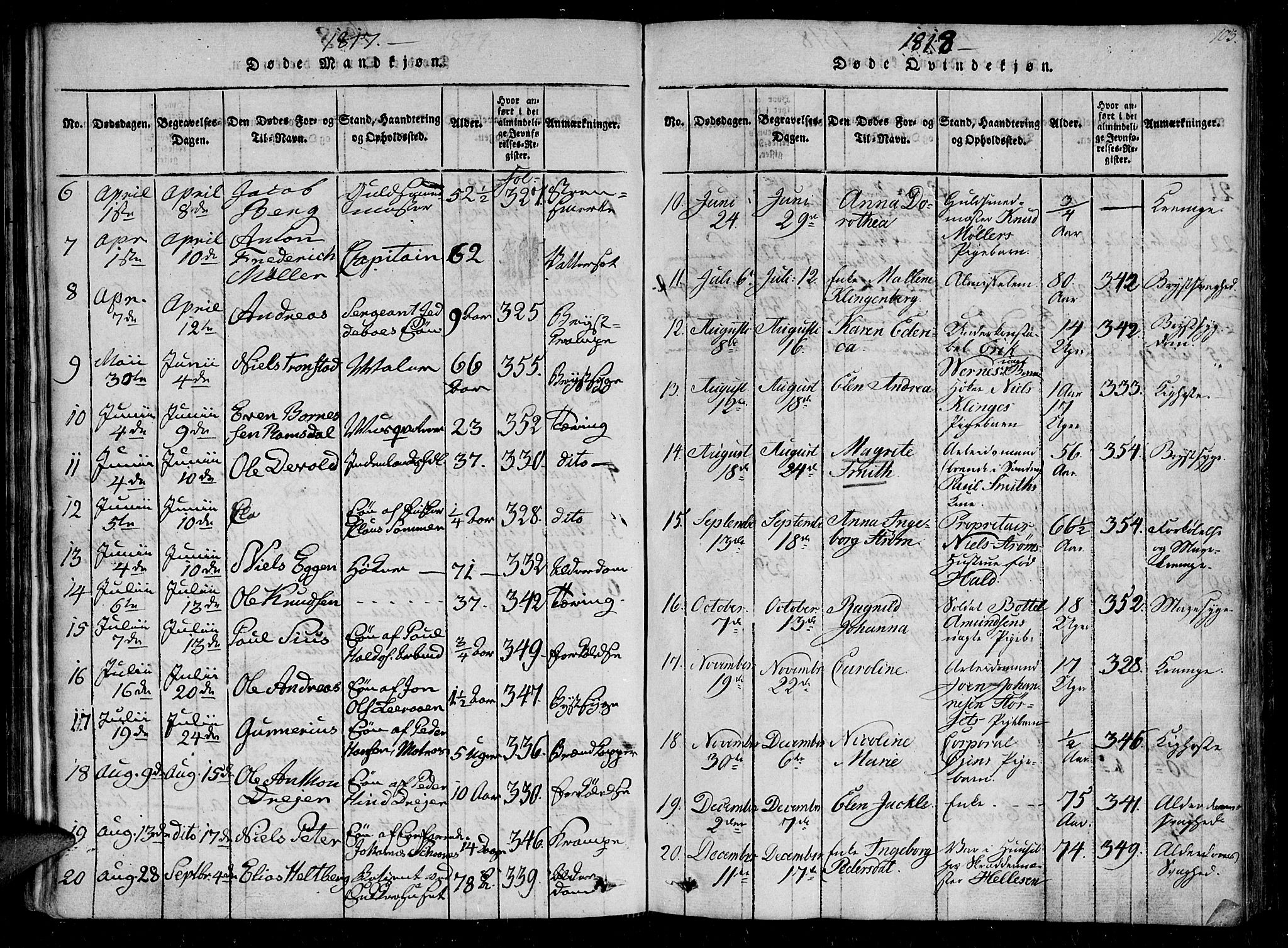 SAT, Ministerialprotokoller, klokkerbøker og fødselsregistre - Sør-Trøndelag, 602/L0107: Ministerialbok nr. 602A05, 1815-1821, s. 103