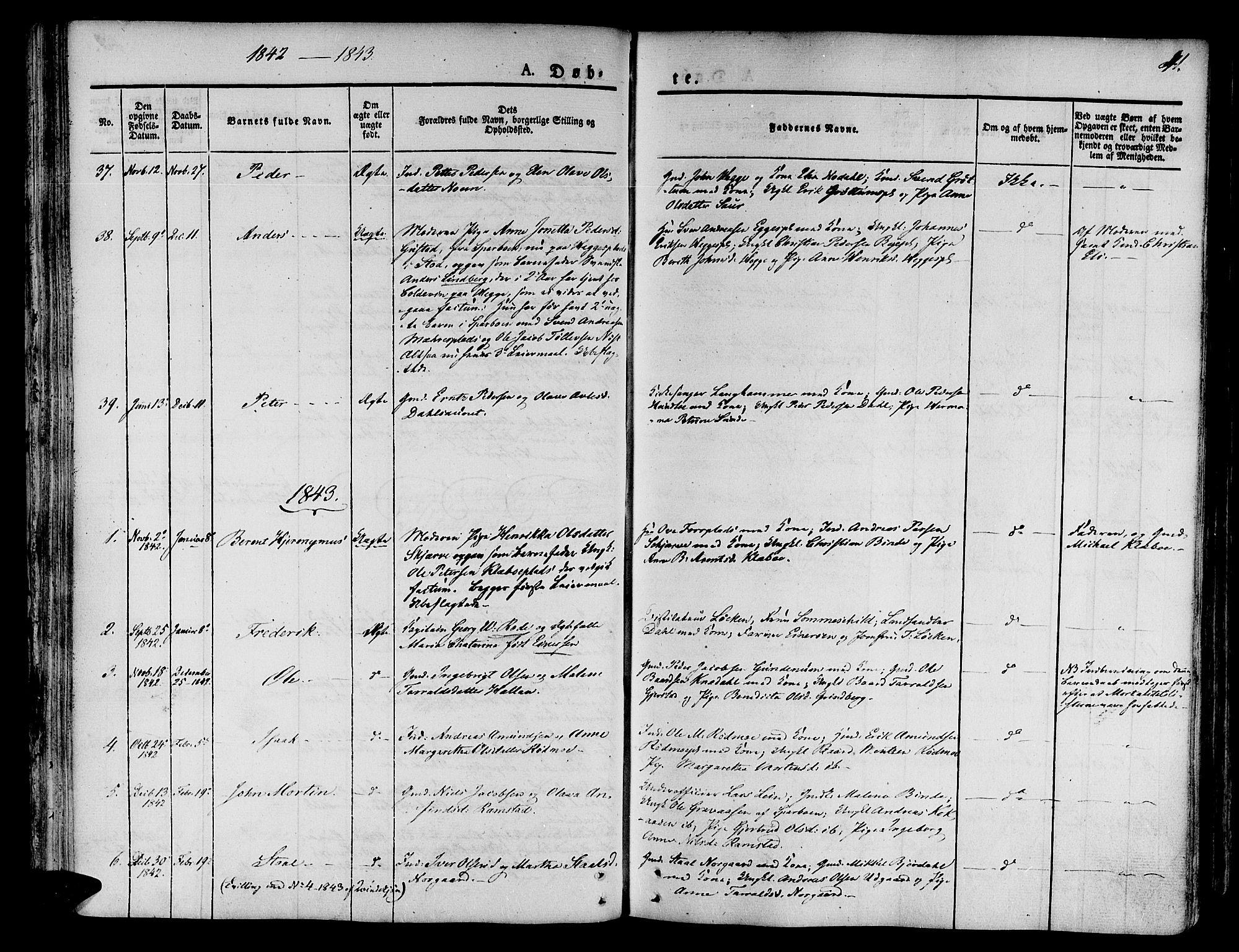 SAT, Ministerialprotokoller, klokkerbøker og fødselsregistre - Nord-Trøndelag, 746/L0445: Ministerialbok nr. 746A04, 1826-1846, s. 41