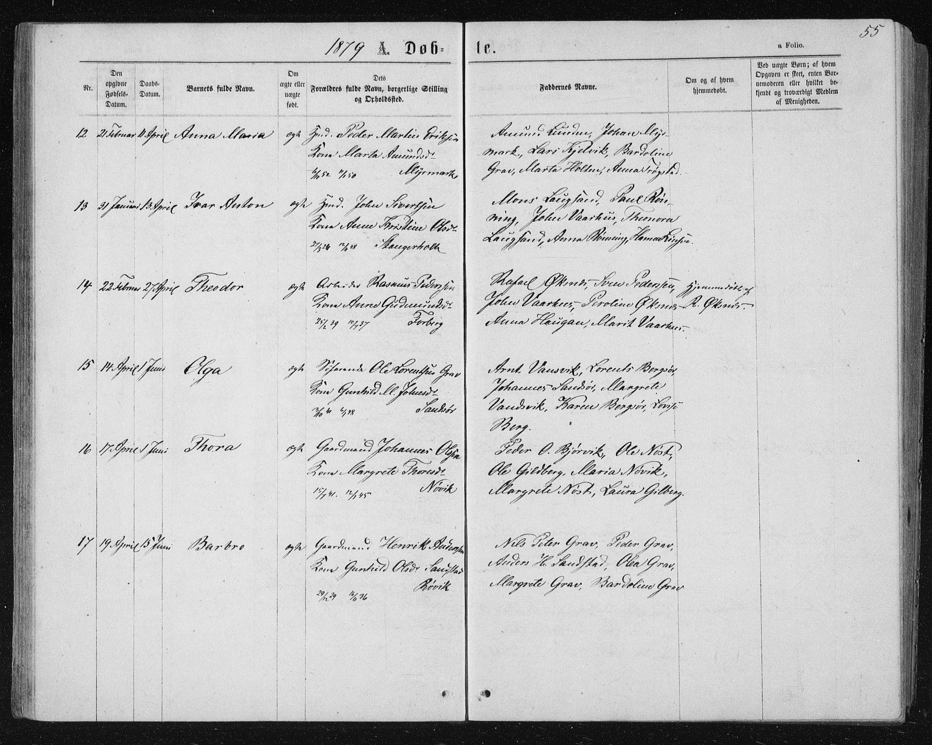 SAT, Ministerialprotokoller, klokkerbøker og fødselsregistre - Nord-Trøndelag, 722/L0219: Ministerialbok nr. 722A06, 1868-1880, s. 55