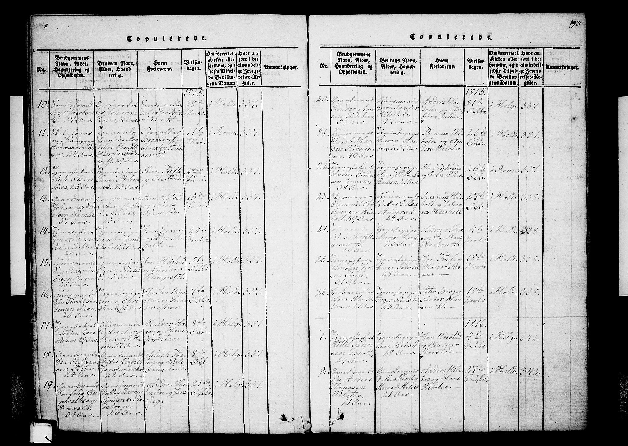 SAKO, Holla kirkebøker, G/Ga/L0001: Klokkerbok nr. I 1, 1814-1830, s. 193