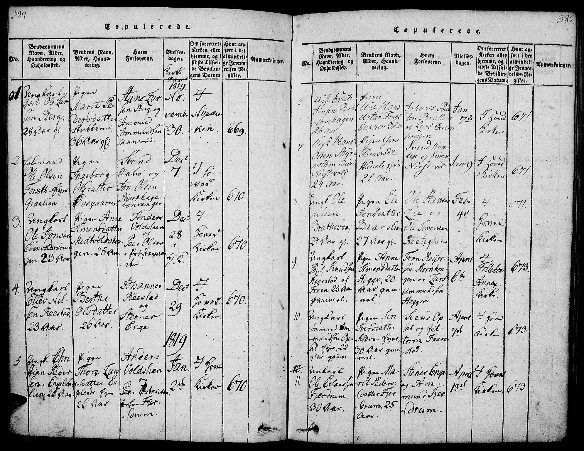 SAH, Gausdal prestekontor, Ministerialbok nr. 5, 1817-1829, s. 384-385