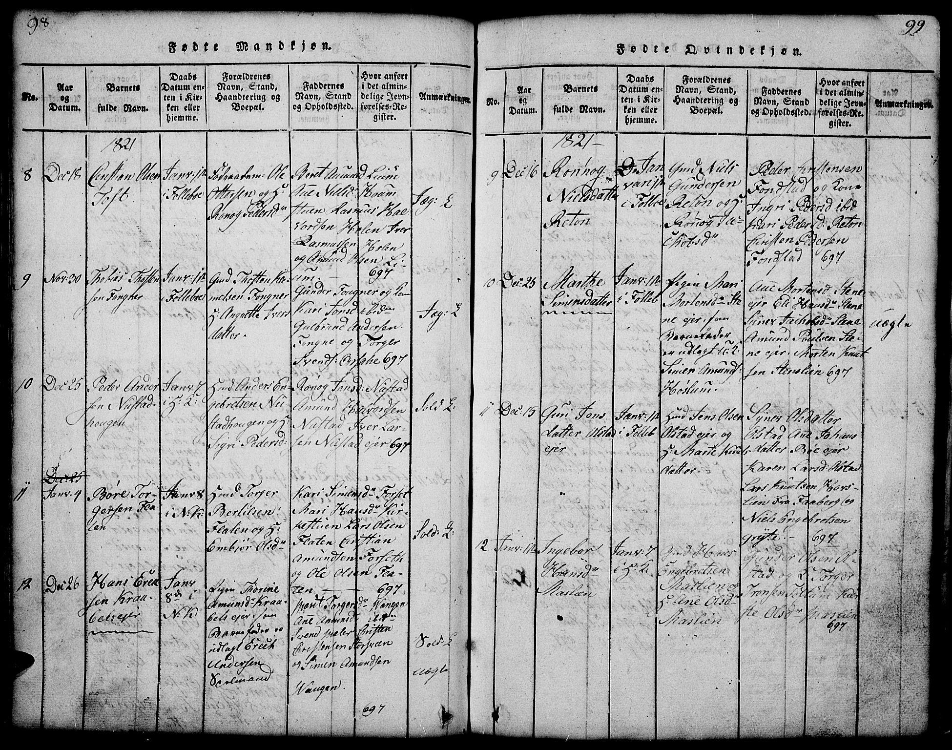 SAH, Gausdal prestekontor, Klokkerbok nr. 1, 1817-1848, s. 98-99