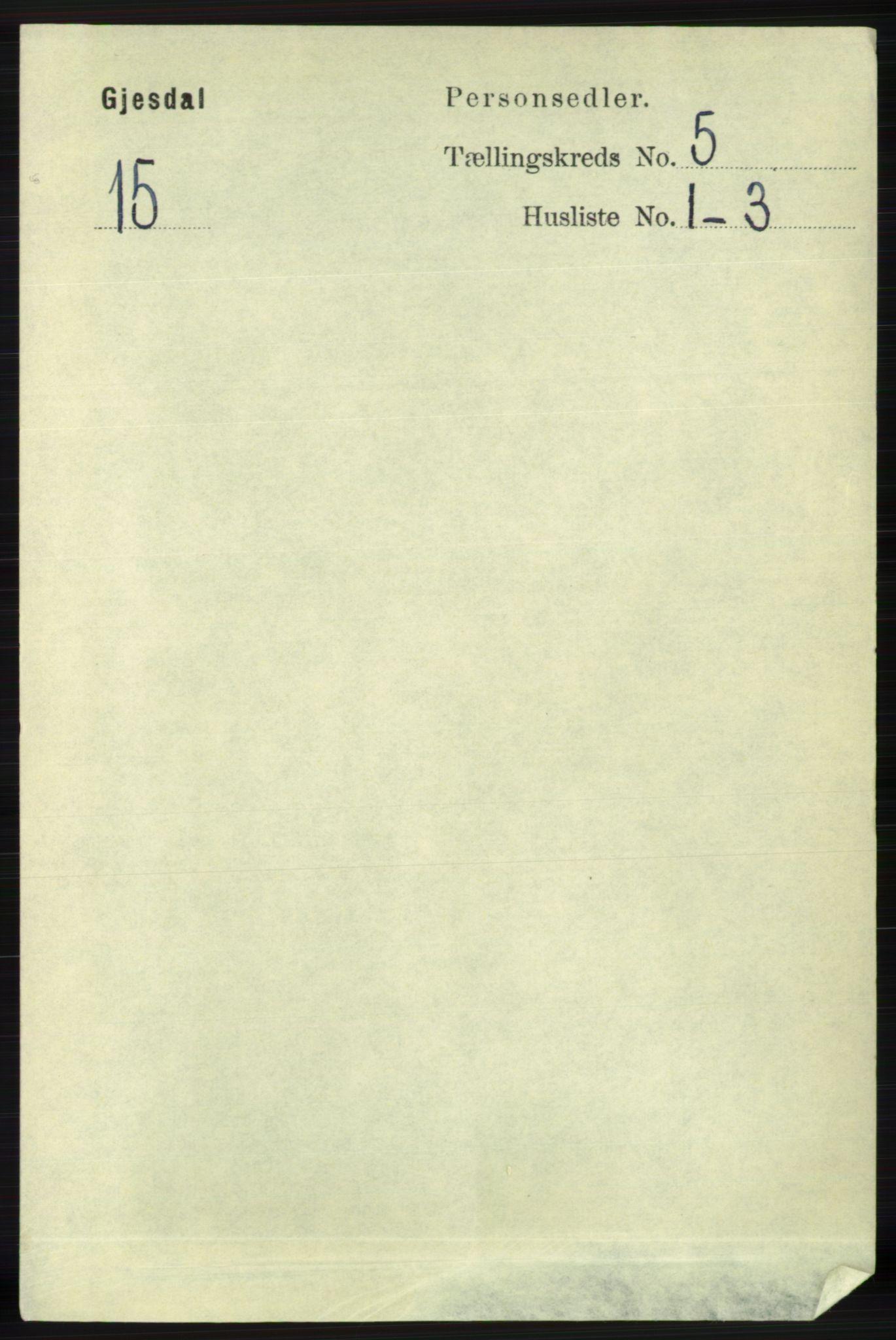 RA, Folketelling 1891 for 1122 Gjesdal herred, 1891, s. 1487