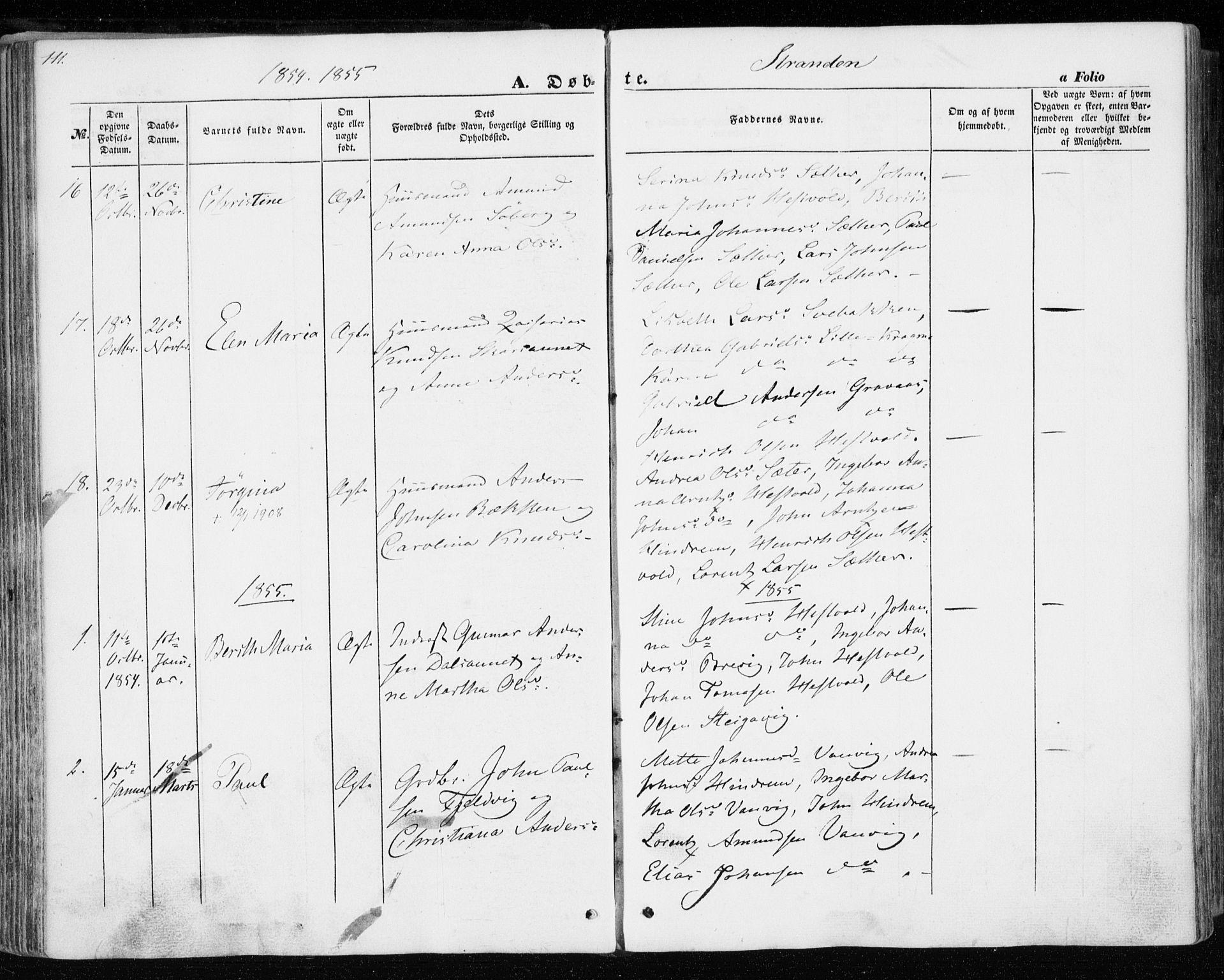 SAT, Ministerialprotokoller, klokkerbøker og fødselsregistre - Nord-Trøndelag, 701/L0008: Ministerialbok nr. 701A08 /2, 1854-1863, s. 111