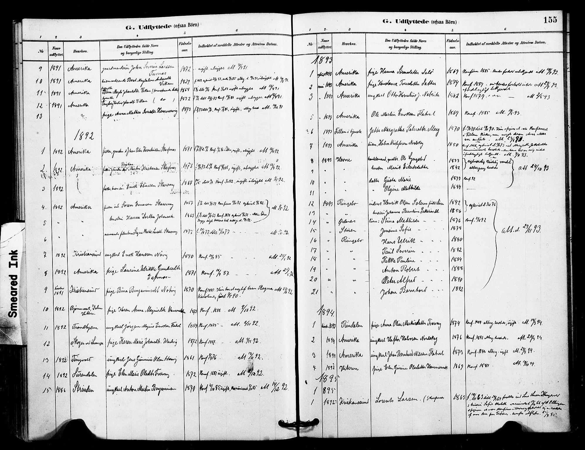 SAT, Ministerialprotokoller, klokkerbøker og fødselsregistre - Sør-Trøndelag, 641/L0595: Ministerialbok nr. 641A01, 1882-1897, s. 155