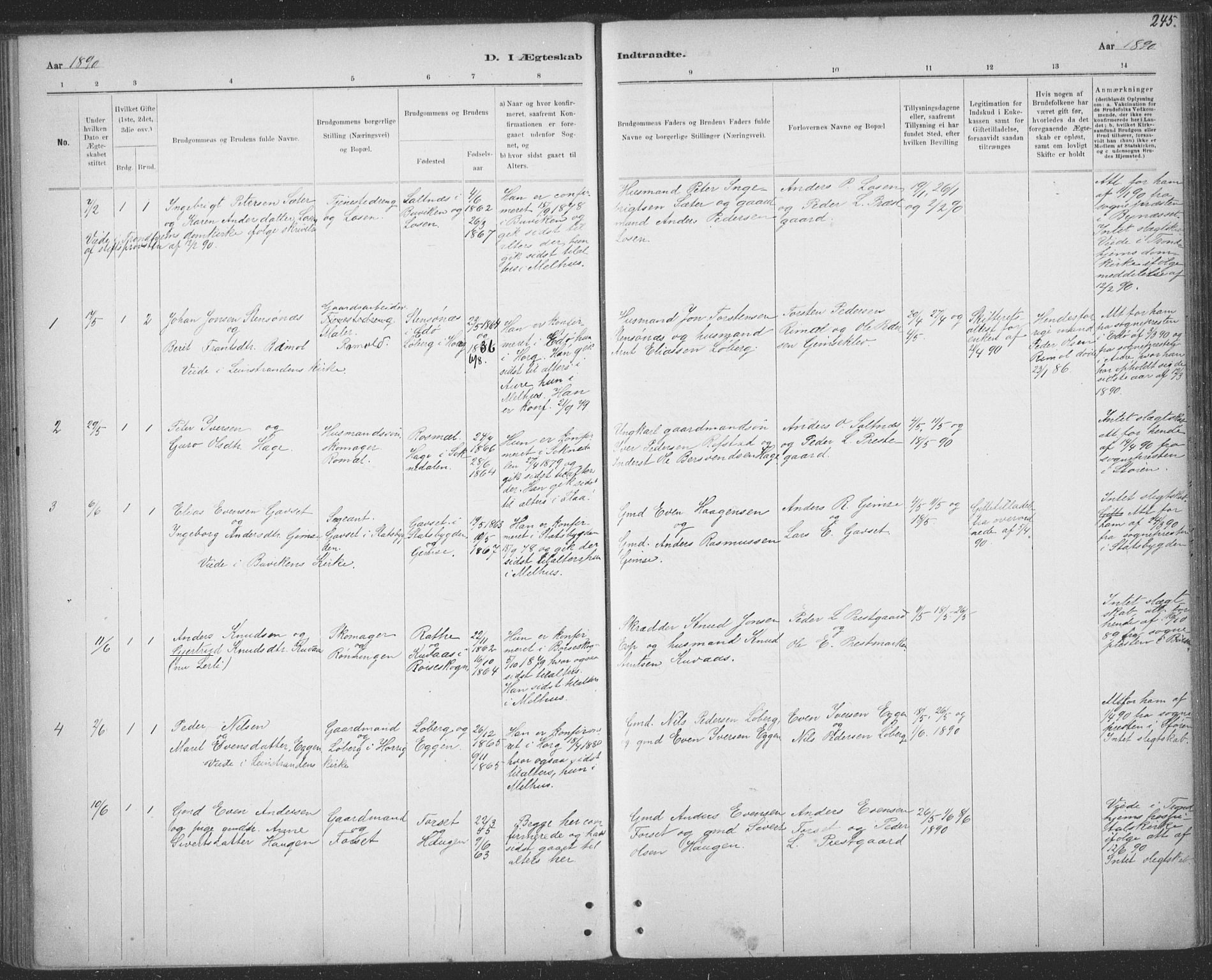SAT, Ministerialprotokoller, klokkerbøker og fødselsregistre - Sør-Trøndelag, 691/L1085: Ministerialbok nr. 691A17, 1887-1908, s. 245