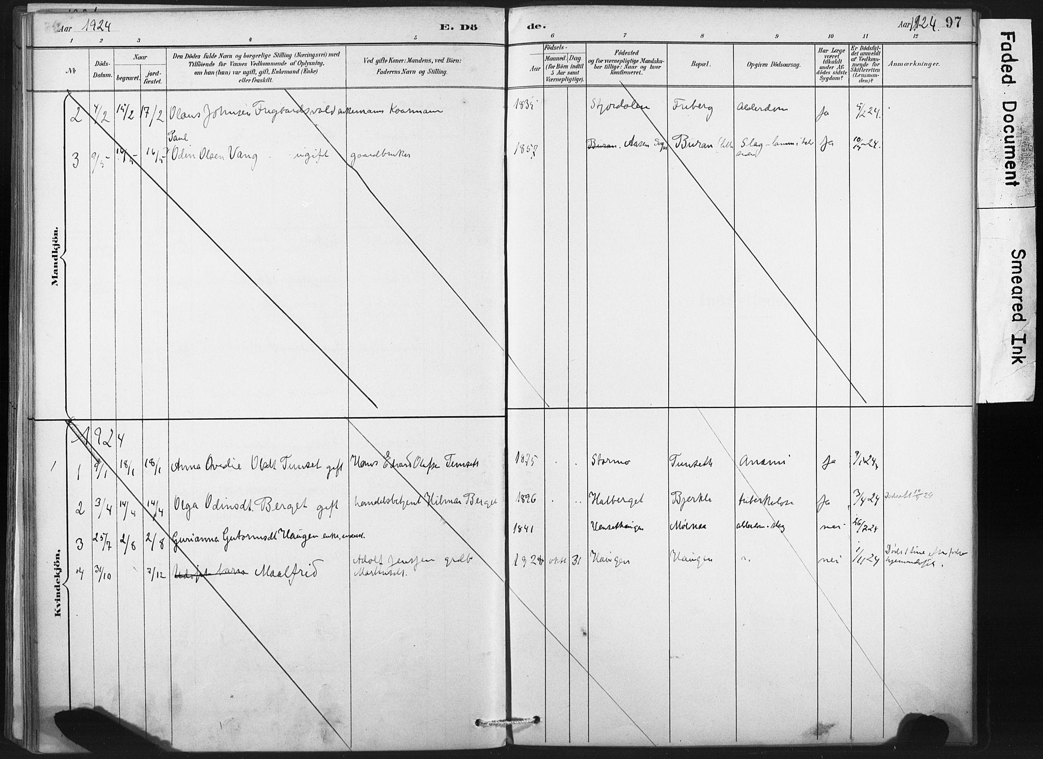 SAT, Ministerialprotokoller, klokkerbøker og fødselsregistre - Nord-Trøndelag, 718/L0175: Ministerialbok nr. 718A01, 1890-1923, s. 97