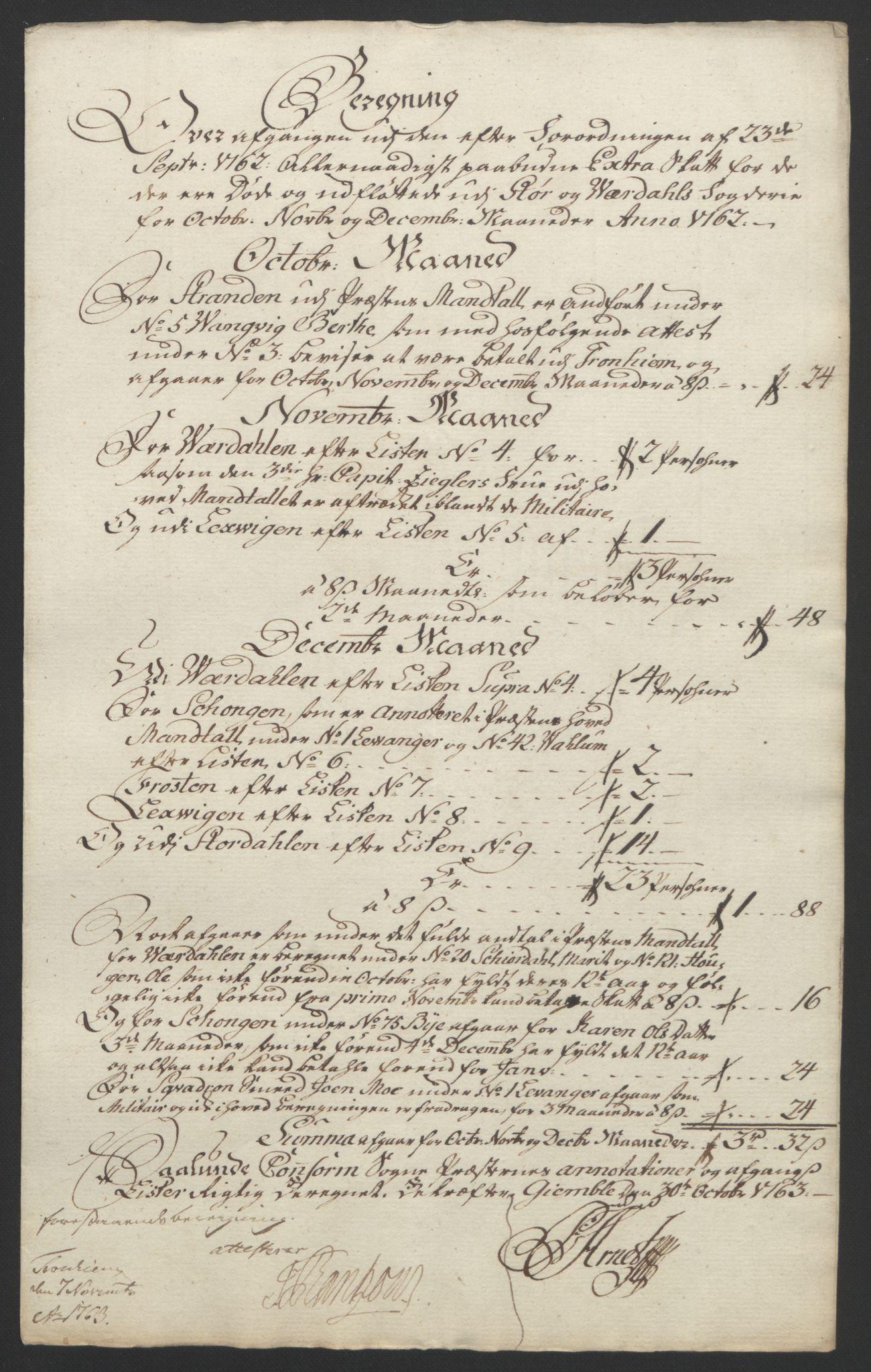 RA, Rentekammeret inntil 1814, Reviderte regnskaper, Fogderegnskap, R62/L4303: Ekstraskatten Stjørdal og Verdal, 1762-1763, s. 13